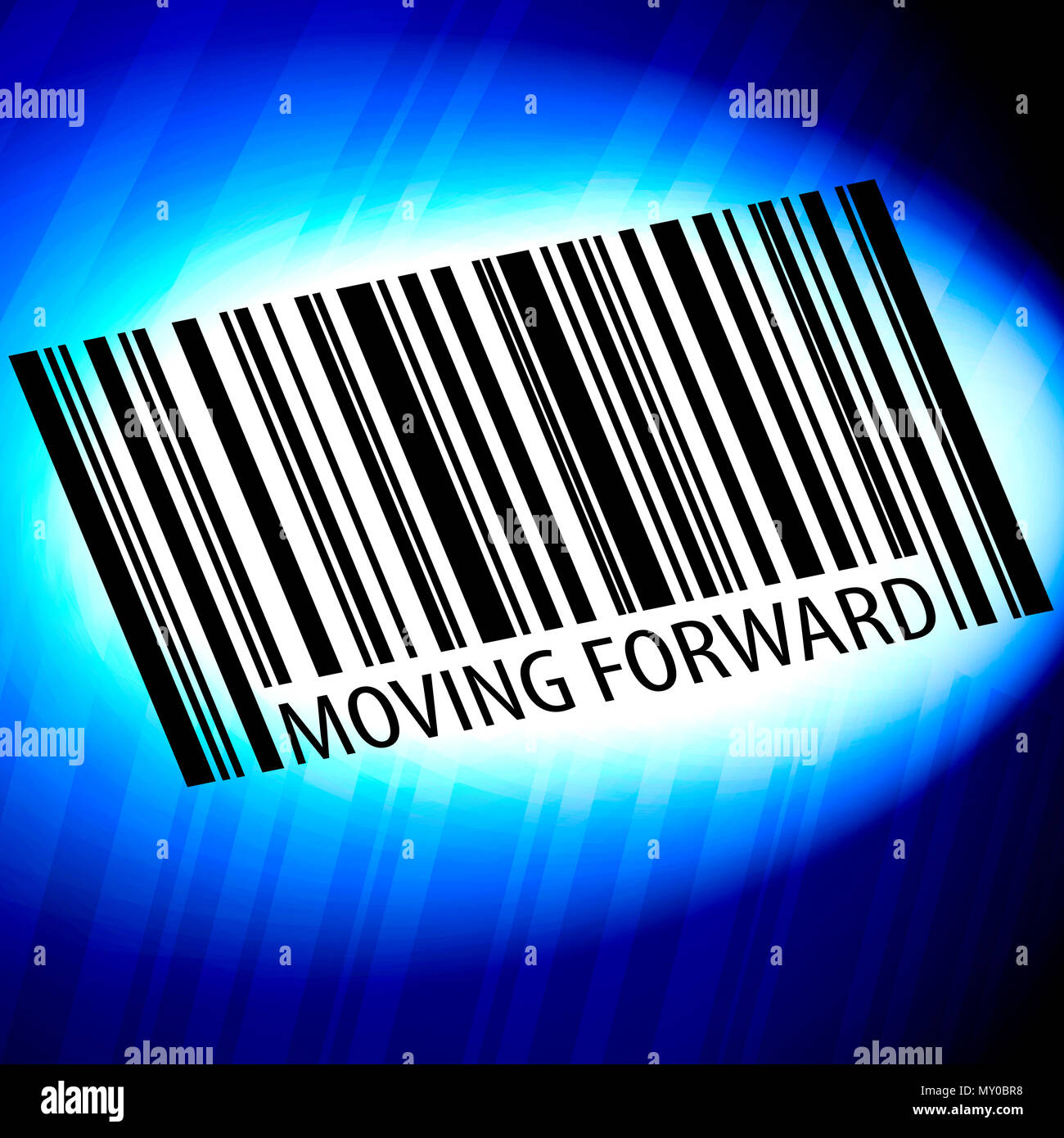 Moving forward - barcode with blue Background - Stock Image