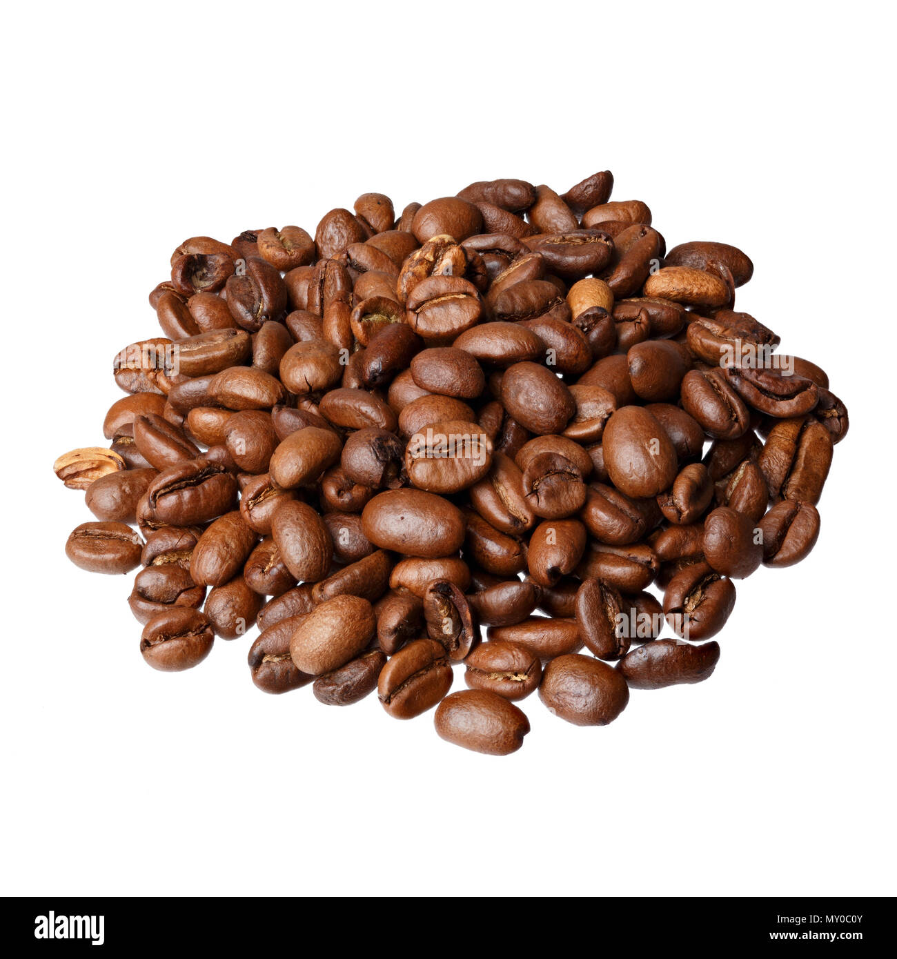 Ethiopia Mocca gourmet coffee on white background. - Stock Image