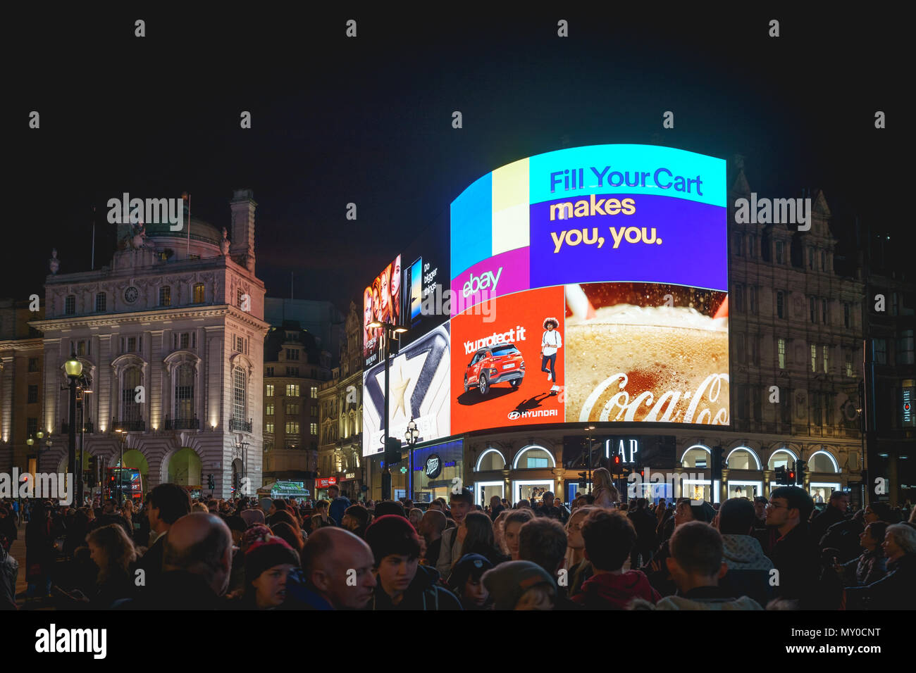 London, UK - November 2017. New iconic electronic ultra-high definition curved billboards have been switch on after an upgrade in Piccadilly Circus. Stock Photo