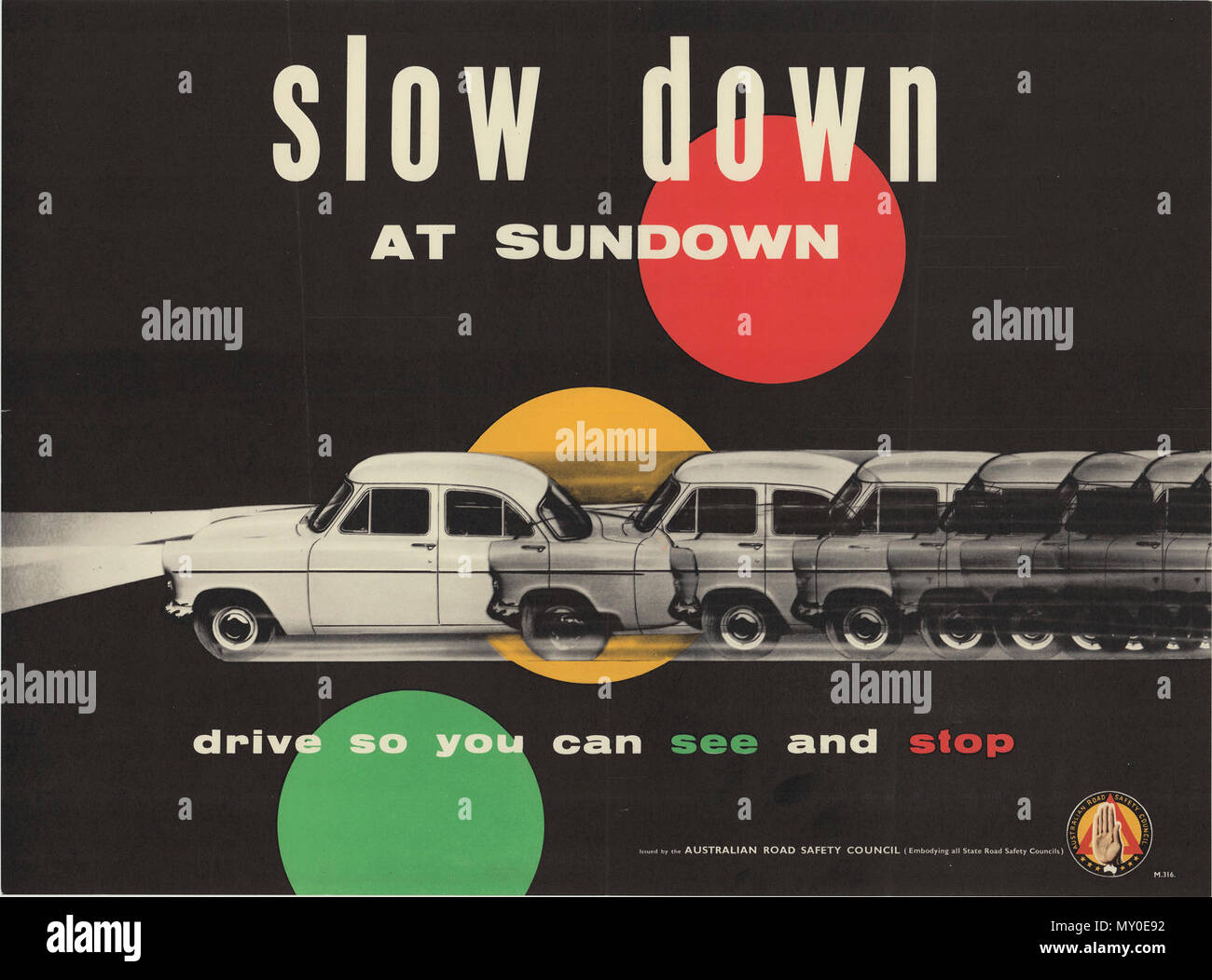 Slow Down At Sundown Road Safety Poster Circa 1939 1959 Driving At Night Six Safety Rules Some Of The Worst Motoring Smashes Occur Late At Night And During The Early Hours