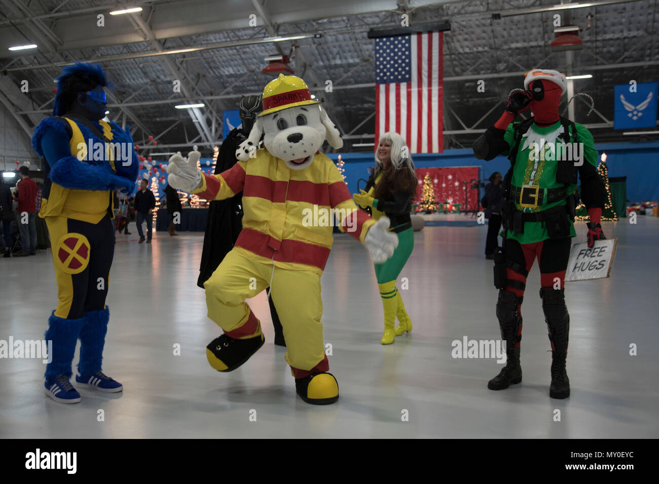 Sparky The Fire Dog National Protection Association Dances With Volunteers Dressed As Popular