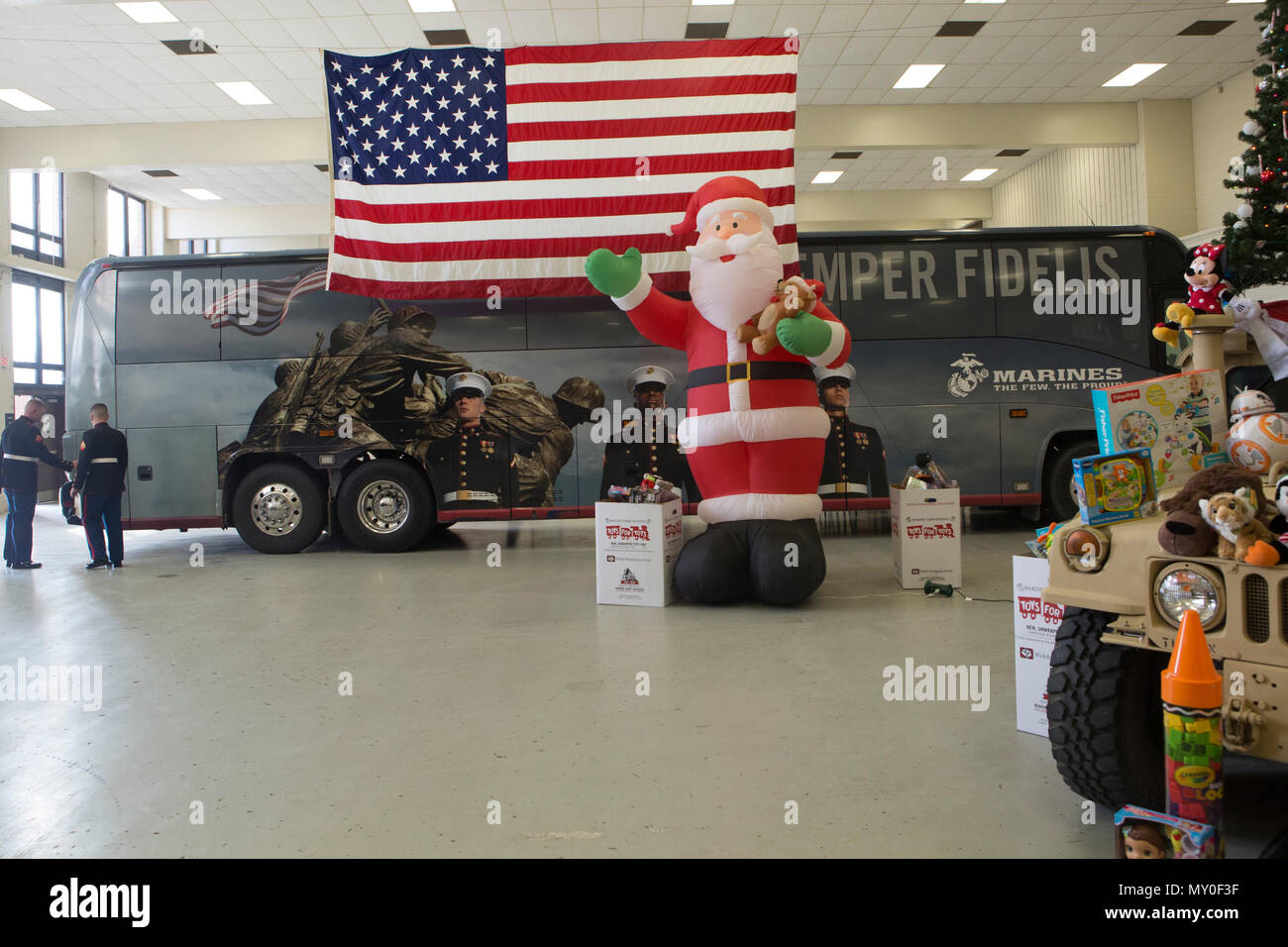 Christmas gifts are collected for the Toys for Tots Foundation at ...