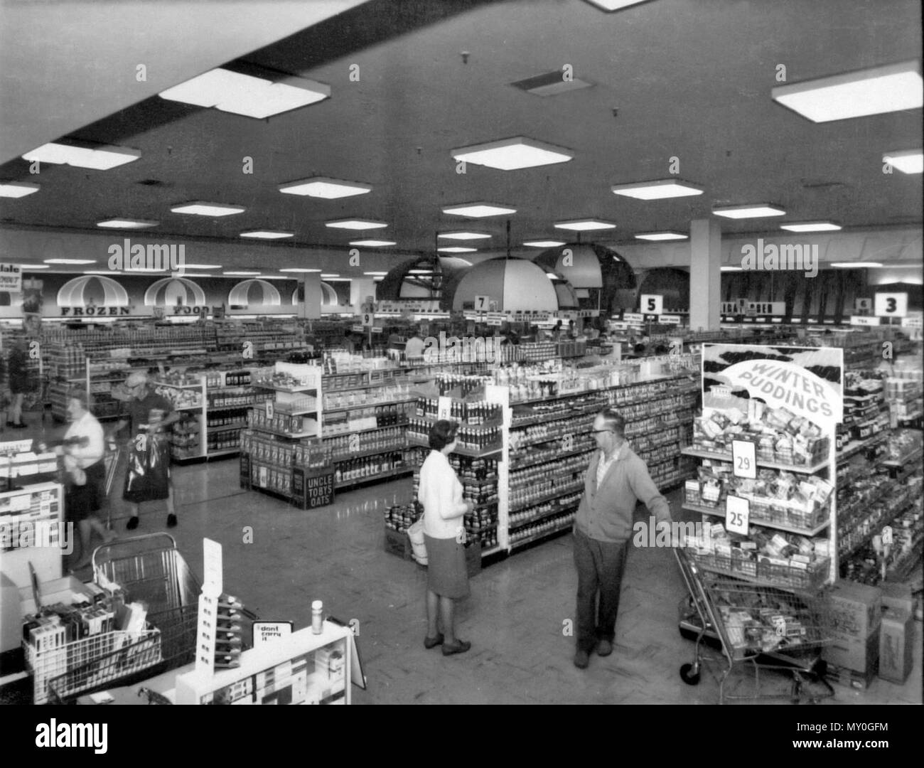 Woolworths, Sundale Shopping Centre, Southport, 18 July 1969. Sundale Shopping Centre opened in 1968 and featured many stored plus a booth for local radio station 4GG. After many tenants moved out in the 1980s, the centre closed in 1990. It was demolished in 2003 to make way for high-rise apartments. Stock Photo