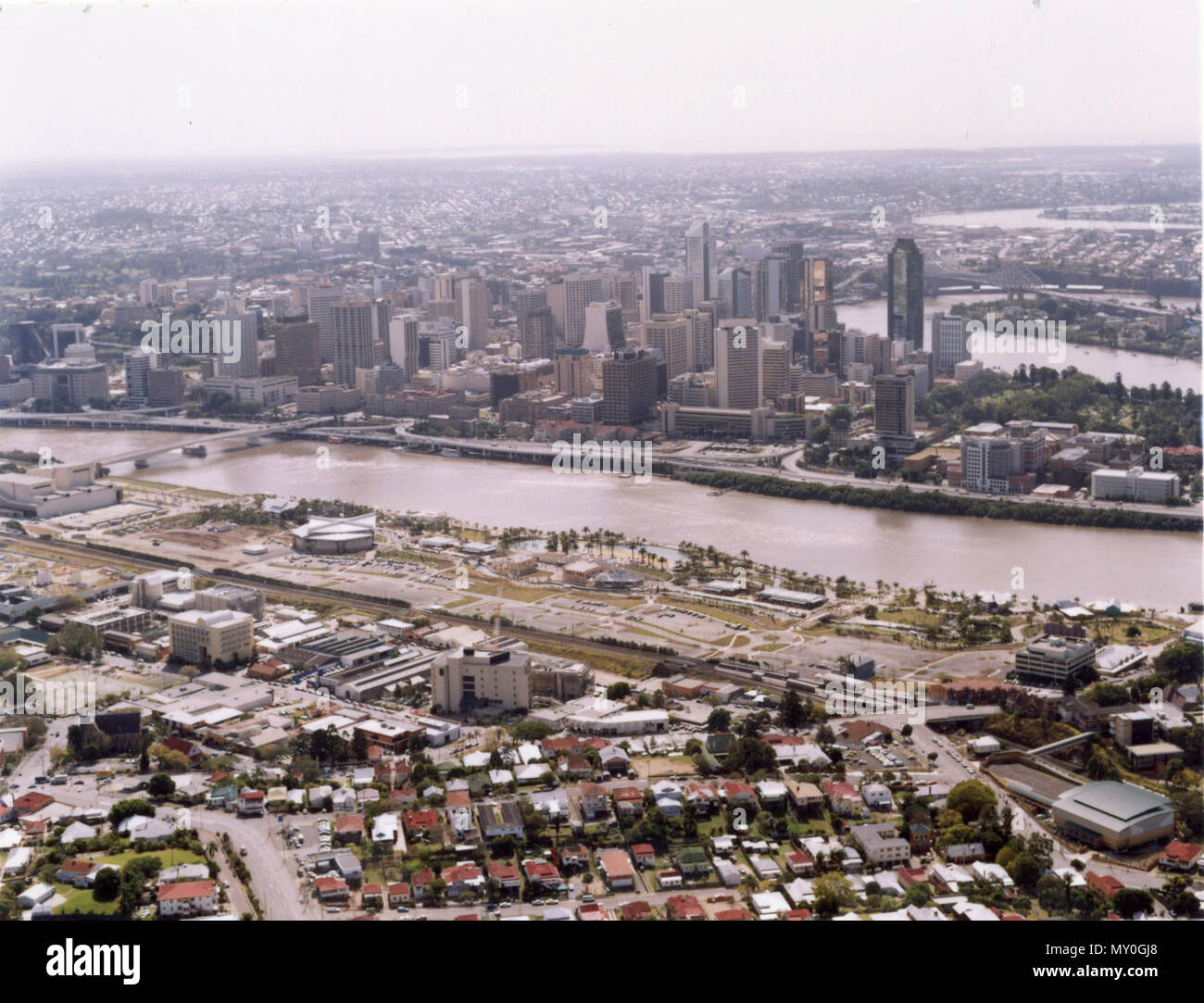 Brisbane and the new Southbank, August 1992. - Stock Image