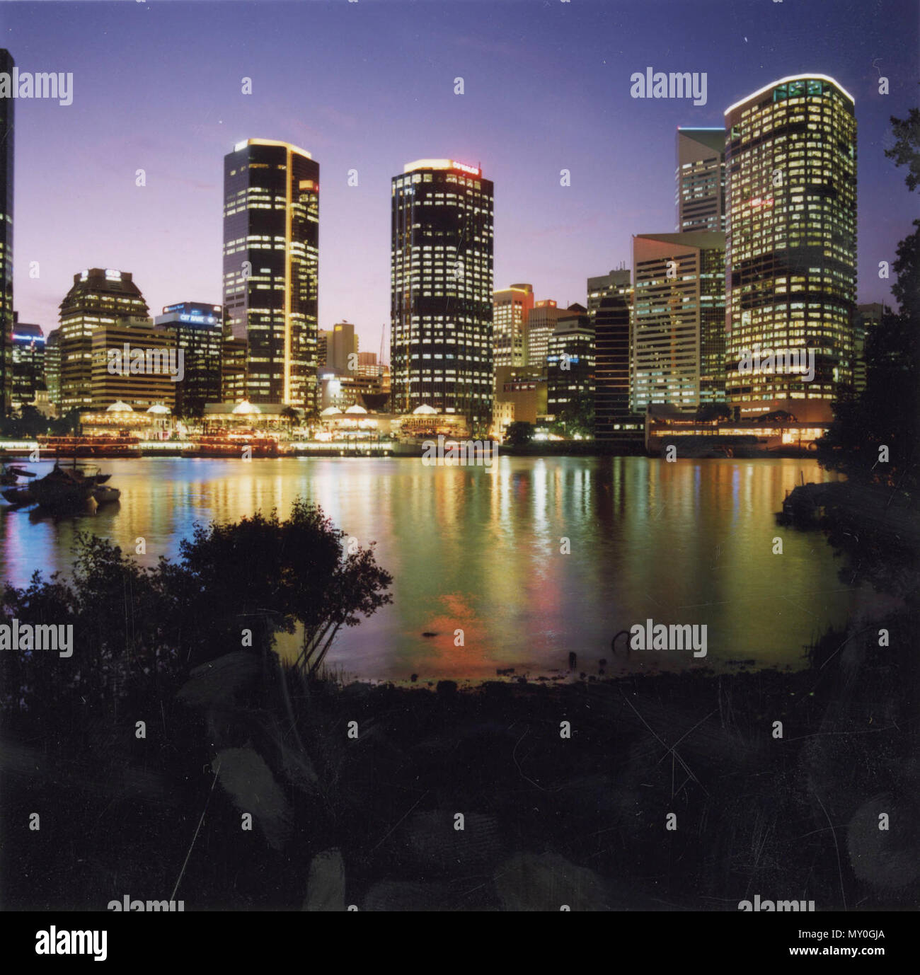 Brisbane at night in 1992. - Stock Image