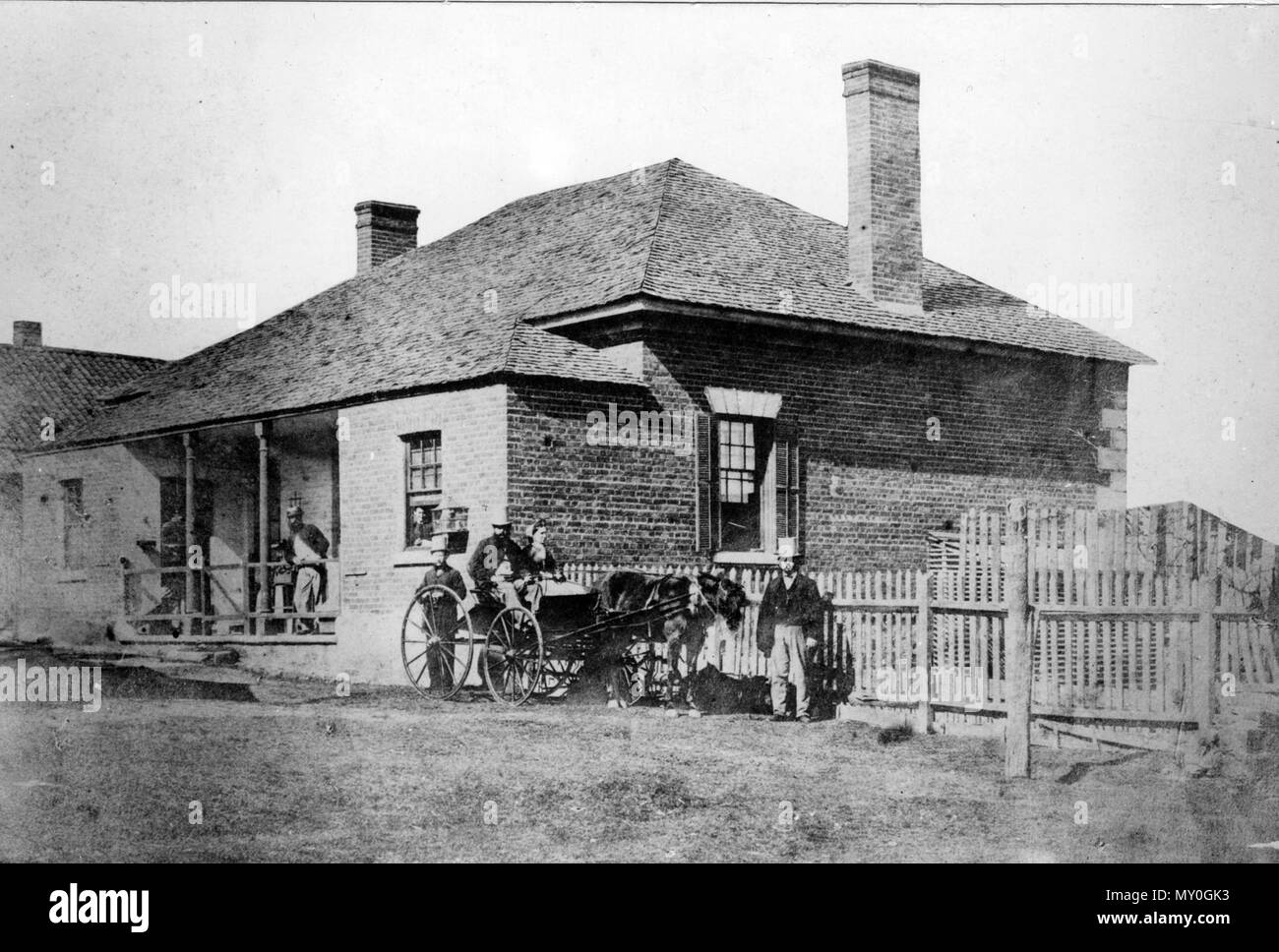 Brisbane Hospital, George Street, Brisbane, 1865. Moreton Bay Hospital opened in George Street on 12 January 1849 and changed its name to Brisbane Hospital in 1856. A new Brisbane Hospital was opened at Herston and patients were transferred there in 1867. - Stock Image