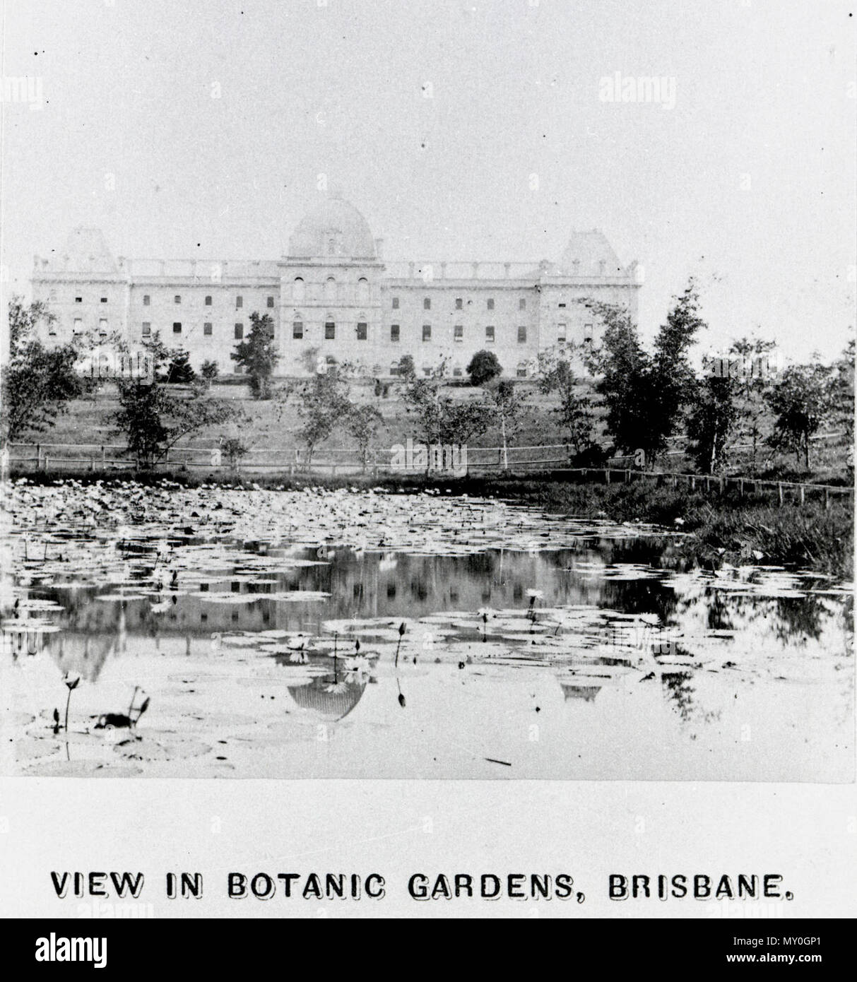 Brisbane's Botanic Gardens, c1900. BRISBANE BOTANIC GARDENS. 19036724?searchTerm=brisbane botanic gardens&searchLimits=l-state=Queensland|||l-decade=190|||l-year=1900 )   TO THE EDITOR. Sir, --I have visited the Botanic Gardens lately on several occasions, and admire very much the manner in which they are recovering from the disasters of storm and flood. The trees, shrubs, and flowers will shortly be bursting into the fair blossom of spring, when the airs of heaven will become more genial to young and old, especially perhaps to those whose wandering feet lead them to discover the lovely pe - Stock Image