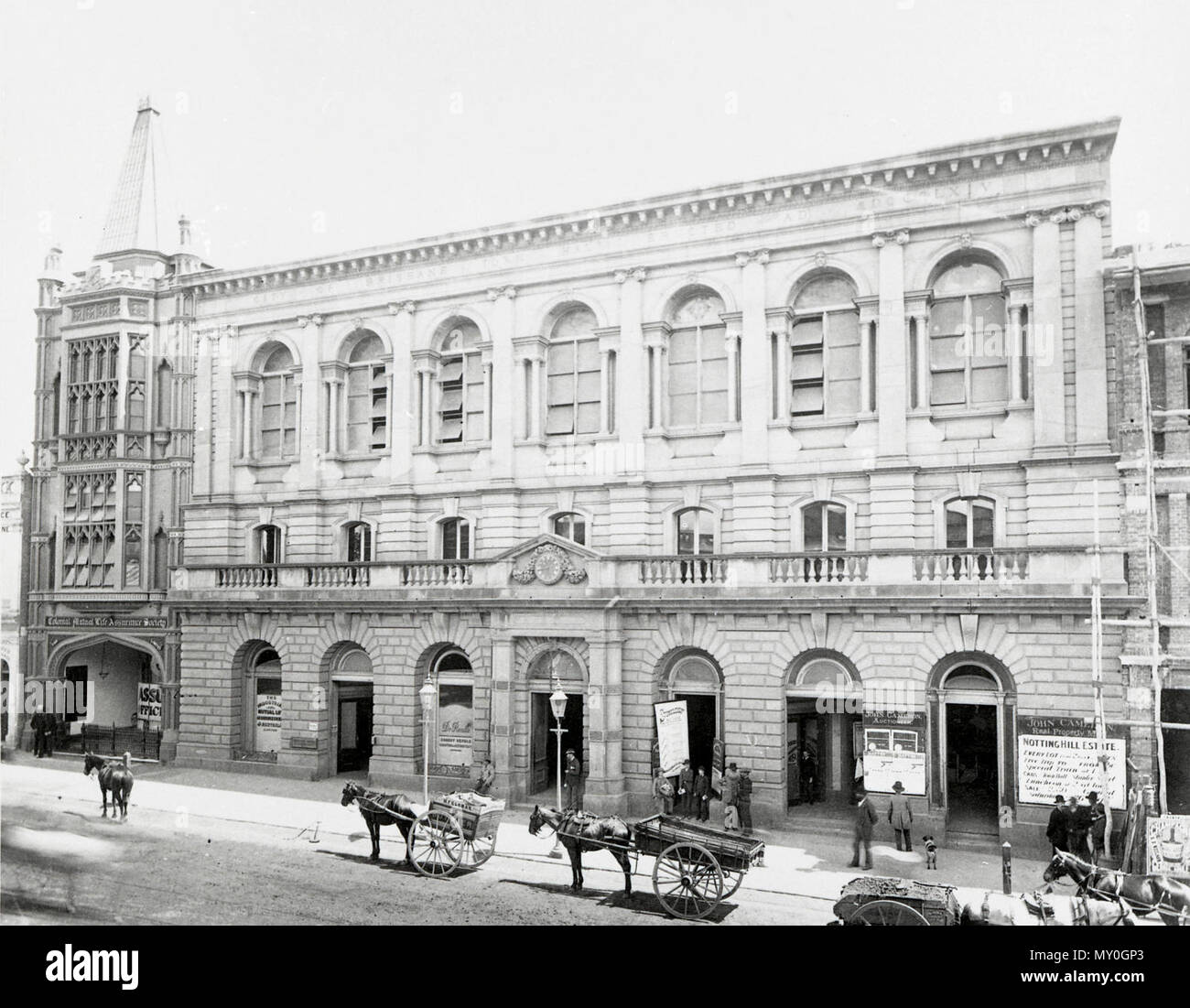 Brisbane's Old Town Hall, Queen St. The Courier Mail Sat 27 Nov 1937  Old Town Hall a Link With Early Days  The old Town Hall was completed in 1865 at a cost of £25,000, and the civic fathers of that distant day had every reason for self-gratification.  Every to-day the old building is regarding as one of the finest examples of Italian Renaissance architecture to be seen in Australia. For more than 70 years it classic facade has looked out upon an ever-changing scene in Queen-street. Through the decades demolition and reconstruction attended the relentless march of time.   When the freestone f Stock Photo