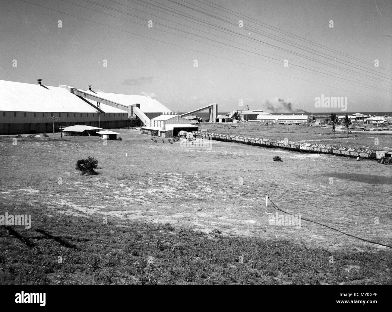 Bulk Sugar Terminal, Mackay, October 1960. Mackay Bulk Sugar Terminal opened in 1957. At the time it was the largest shed for storing sugar anywhere in the world. - Stock Image