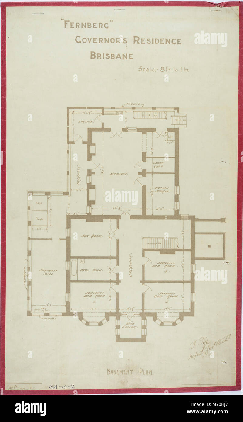 Fernberg, Governor's Residence, Brisbane, Basement Plan, c 1884. Johann Heussler, a wealthy Brisbane merchant purchases 22 acres of land from the Government in 1862 and made plans to build a house there. Local architect Benjamin Backhouse designed a house in 1865, to be constructed from stone excavated on site combined with a cement and lime mixture.  The Heussler family lived at Fernberg from 1865 until 1872 when the high cost of upkeep forces foreclosure on the property by the mortgagee.  Sir Arthur Palmer, Premier of Queensland (1870-1874), and later Lieutenant Governor resided in Fernberg  - Stock Image