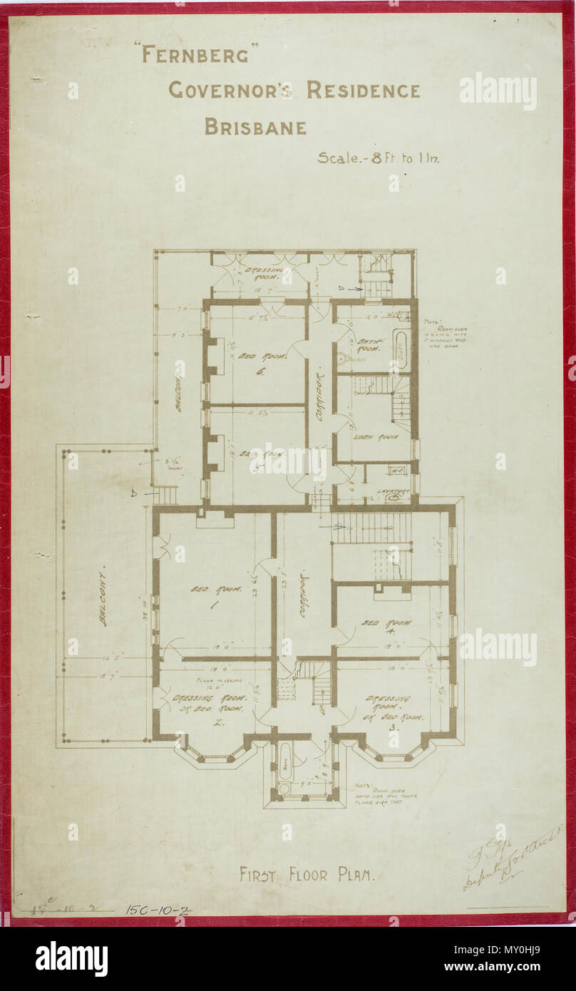 Fernberg, Governor's Residence, Brisbane, First Floor Plan, c 1884. Johann Heussler, a wealthy Brisbane merchant purchases 22 acres of land from the Government in 1862 and made plans to build a house there. Local architect Benjamin Backhouse designed a house in 1865, to be constructed from stone excavated on site combined with a cement and lime mixture.  The Heussler family lived at Fernberg from 1865 until 1872 when the high cost of upkeep forces foreclosure on the property by the mortgagee.  Sir Arthur Palmer, Premier of Queensland (1870-1874), and later Lieutenant Governor resided in Fernbe - Stock Image