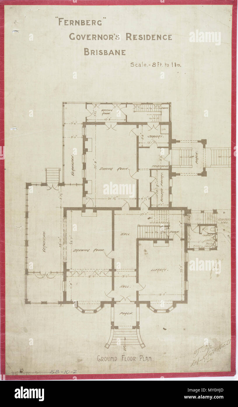 Fernberg, Governor's Residence, Brisbane, Ground Plan, c 1884. Johann Heussler, a wealthy Brisbane merchant purchases 22 acres of land from the Government in 1862 and made plans to build a house there. Local architect Benjamin Backhouse designed a house in 1865, to be constructed from stone excavated on site combined with a cement and lime mixture.  The Heussler family lived at Fernberg from 1865 until 1872 when the high cost of upkeep forces foreclosure on the property by the mortgagee.  Sir Arthur Palmer, Premier of Queensland (1870-1874), and later Lieutenant Governor resided in Fernberg fr - Stock Image