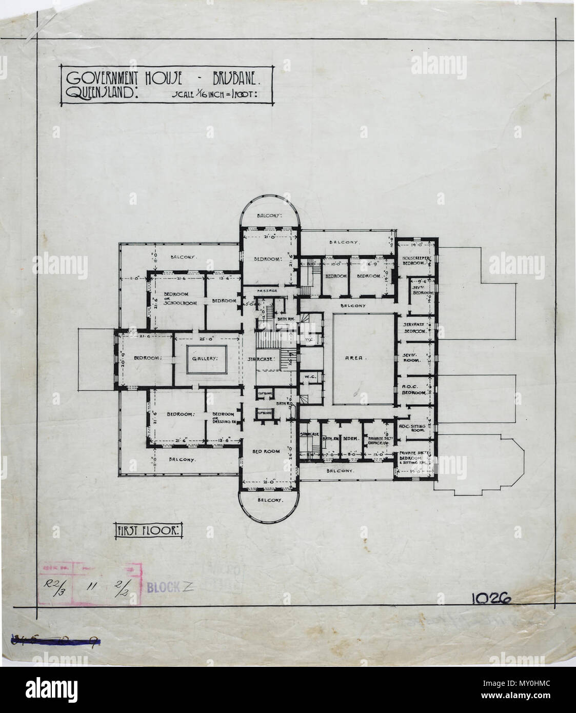 First Floor Plan of Government House, Brisbane, c 1940. Johann Heussler, a wealthy Brisbane merchant purchases 22 acres of land from the Government in 1862 and made plans to build a house there. Local architect Benjamin Backhouse designed a house in 1865, to be constructed from stone excavated on site combined with a cement and lime mixture.  The Heussler family lived at Fernberg from 1865 until 1872 when the high cost of upkeep forces foreclosure on the property by the mortgagee.  Sir Arthur Palmer, Premier of Queensland (1870-1874), and later Lieutenant Governor resided in Fernberg from 1872 - Stock Image