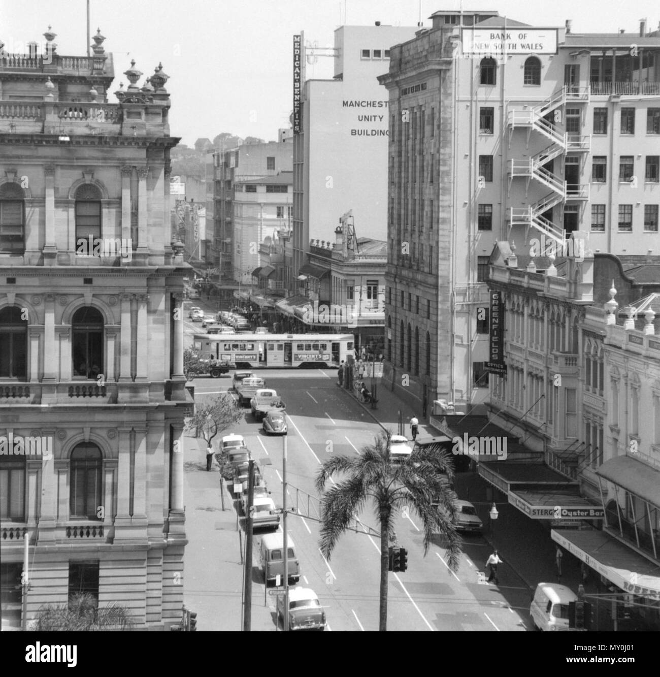 George Street, Brisbane, 1965. The Bank of New South Wales Building was listed on the Queensland Heritage Registerid=600154 )  on 21 October 1992. - Stock Image