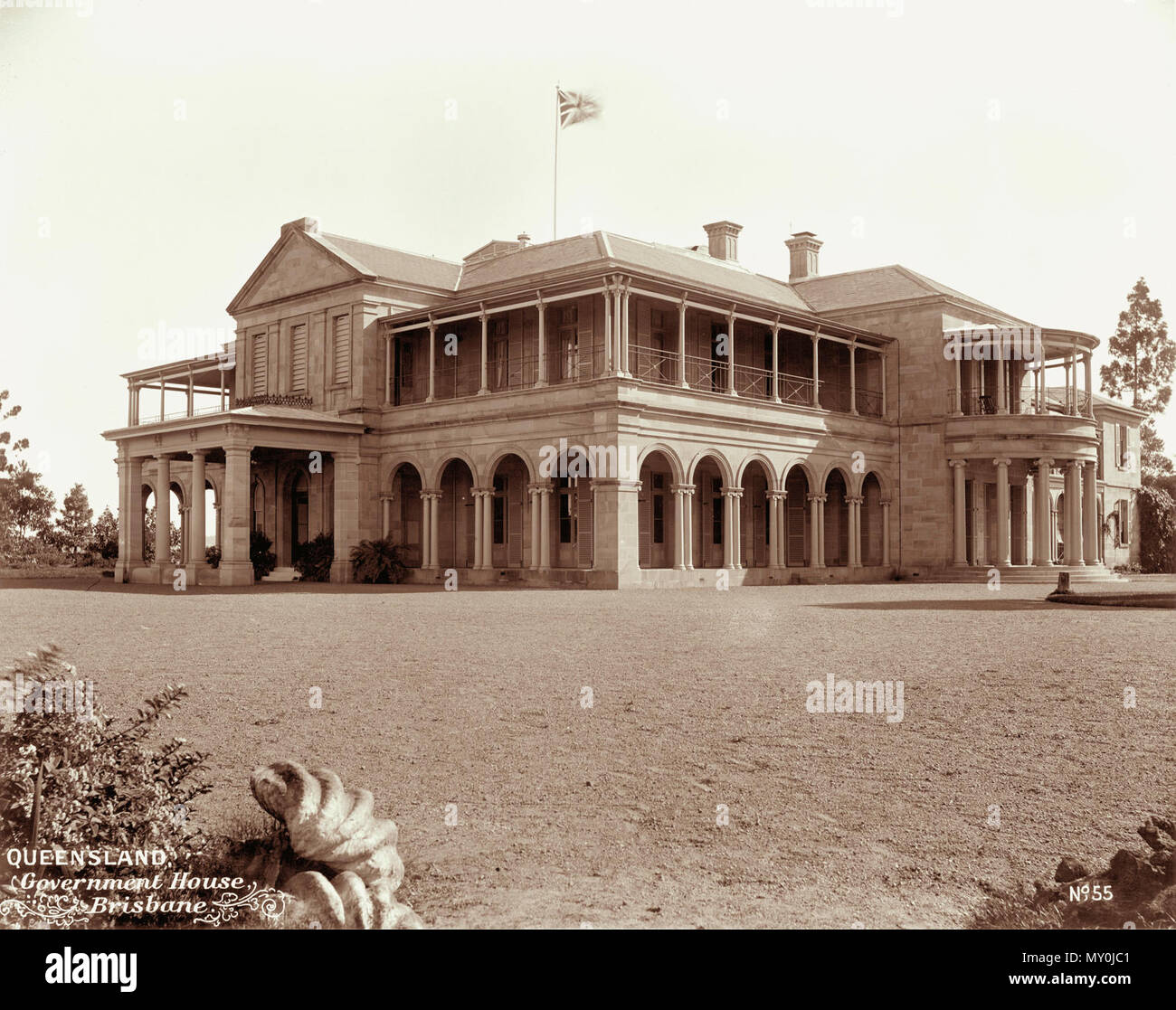 Government House, Brisbane, 1898. Johann Heussler, a wealthy Brisbane merchant purchases 22 acres of land from the Government in 1862 and made plans to build a house there. Local architect Benjamin Backhouse designed a house in 1865, to be constructed from stone excavated on site combined with a cement and lime mixture.  The Heussler family lived at Fernberg from 1865 until 1872 when the high cost of upkeep forces foreclosure on the property by the mortgagee.  Sir Arthur Palmer, Premier of Queensland (1870-1874), and later Lieutenant Governor resided in Fernberg from 1872 to 1881.  John Steven - Stock Image