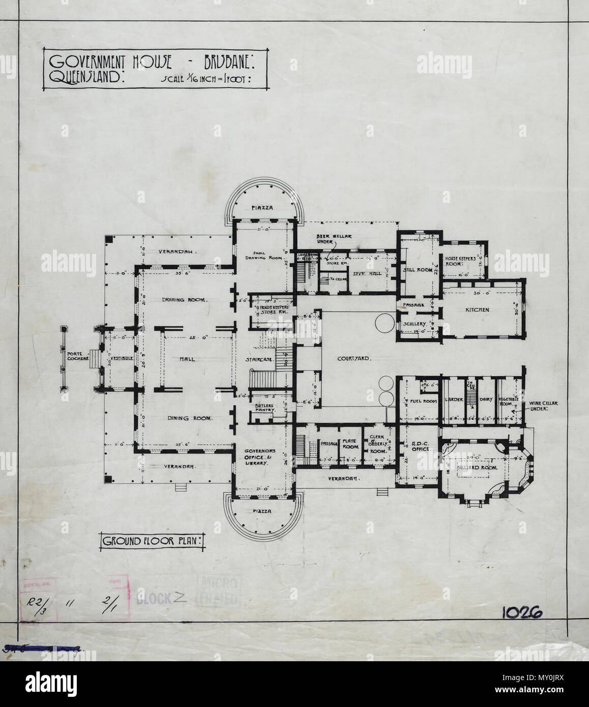 Ground Floor Plan of Government House, Brisbane, c 1940. Johann Heussler, a wealthy Brisbane merchant purchases 22 acres of land from the Government in 1862 and made plans to build a house there. Local architect Benjamin Backhouse designed a house in 1865, to be constructed from stone excavated on site combined with a cement and lime mixture.  The Heussler family lived at Fernberg from 1865 until 1872 when the high cost of upkeep forces foreclosure on the property by the mortgagee.  Sir Arthur Palmer, Premier of Queensland (1870-1874), and later Lieutenant Governor resided in Fernberg from 187 - Stock Image