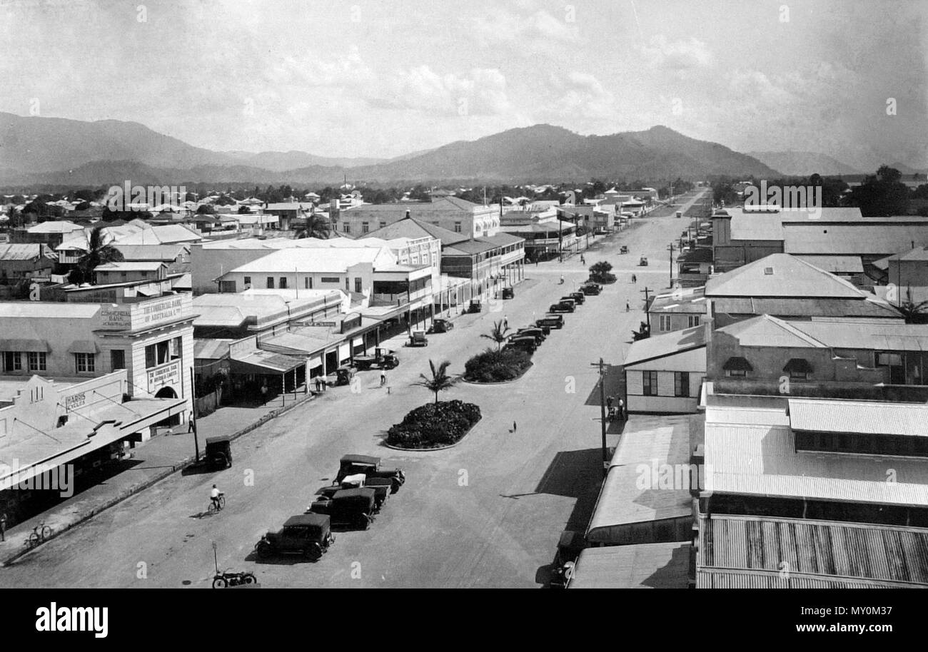 Lake Street, Cairns, c 1935. Cairns Post 28 May 1935  LITTERING FOOTPATH IN LAKE-STREET. CITY COUNCIL ACTS. 41555723 )   The adjourned hearing of the case in which the Council of the City of Cairns, through its health inspector (Mr. D. V. J. Glasgow), proceeded against Frank Lennon, Steve Edwards and Cyril Fleming for depositing prawns and fish on the footpath in Lake-street was continued yesterday in the Cairns Summons Court before Mr. R. C. Grenier, P.M.  Mr. C. K. Bennett (MacDonnell, Harris and Bennett) represented the city council anti Mr R. J. Gallagher appeared for defendants.   A plea  - Stock Image
