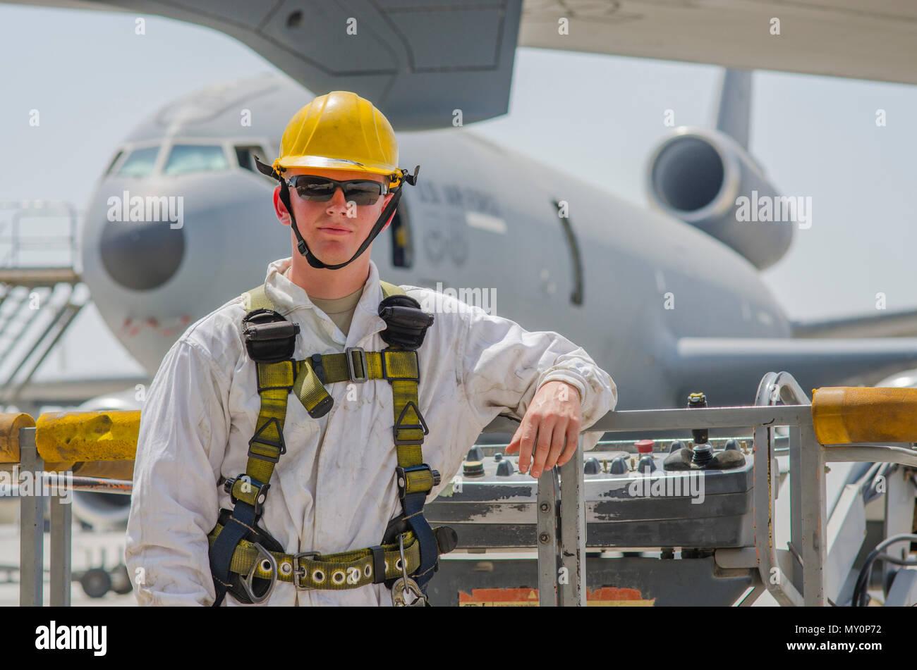 Airman 1st Class Ryan Hobbs, 380th KC-10 crew chief, after