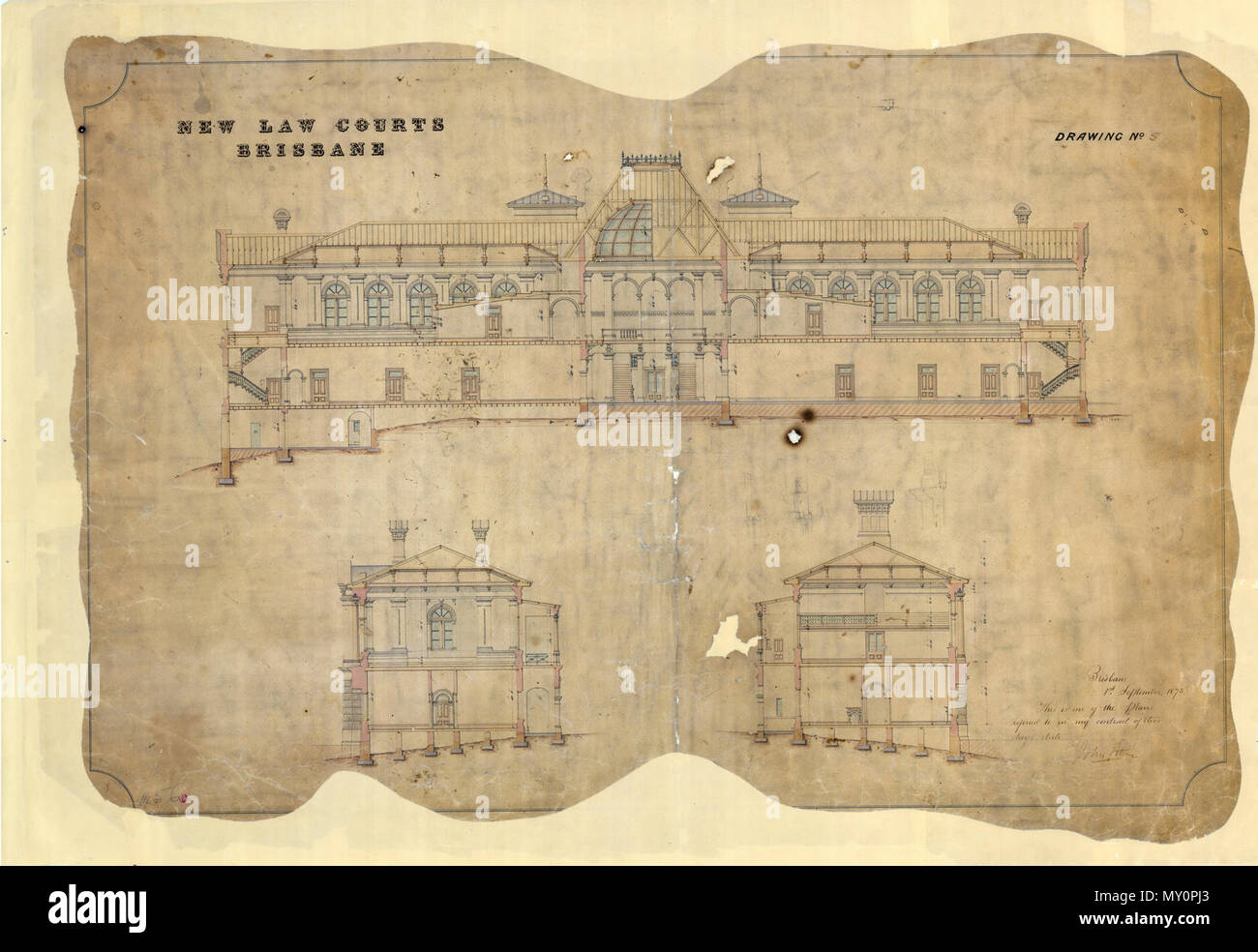 Architectural drawing of the New Law Courts, George Street, Brisbane,. This drawing of the Supreme Court is signed and dated by John Petrie, an architect, stonemason and the first Mayor of Brisbane. Stock Photo