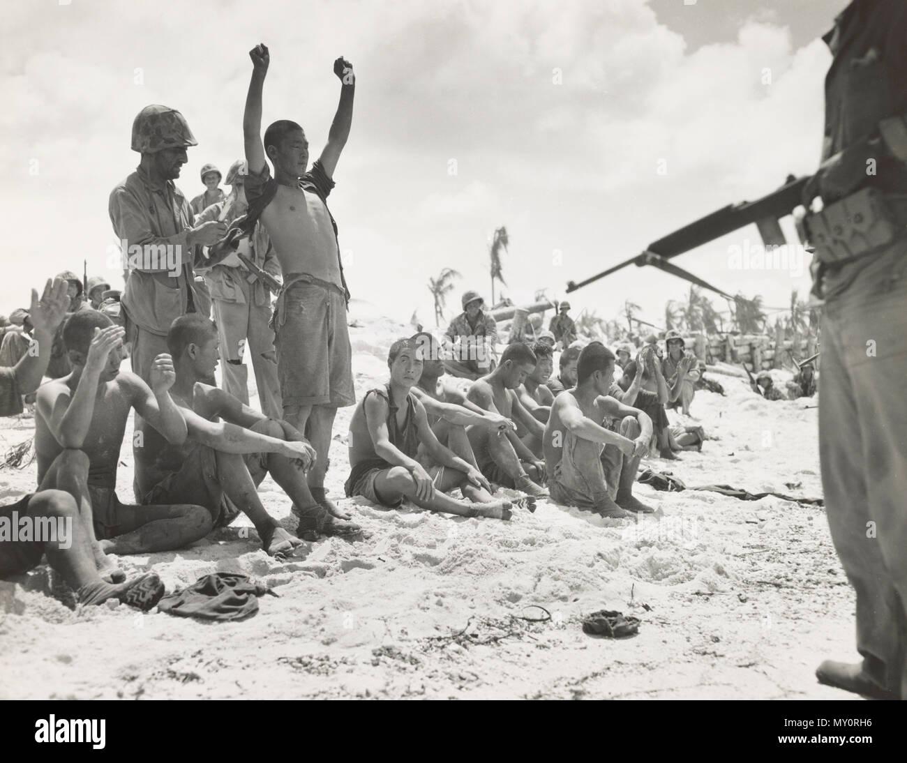Japanese Prisoners in the battle of Tarawa - Stock Image