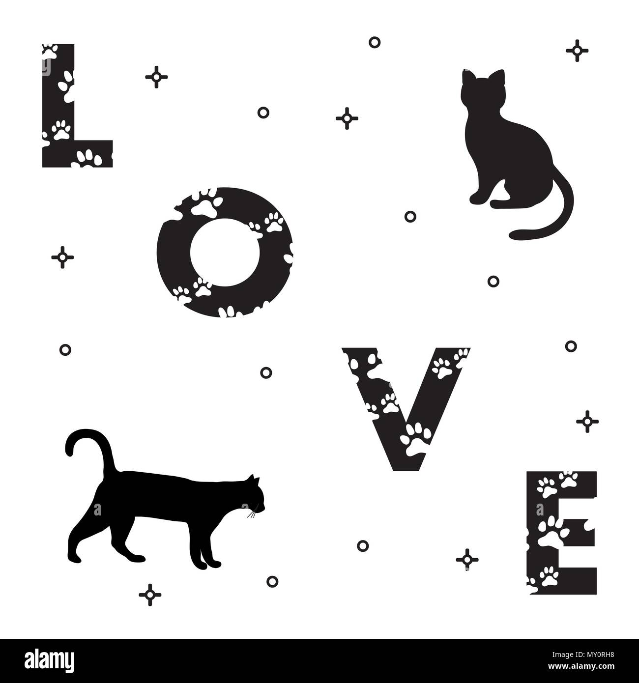 Word Love The Message Is Decorated With Traces Of A Cat Cats