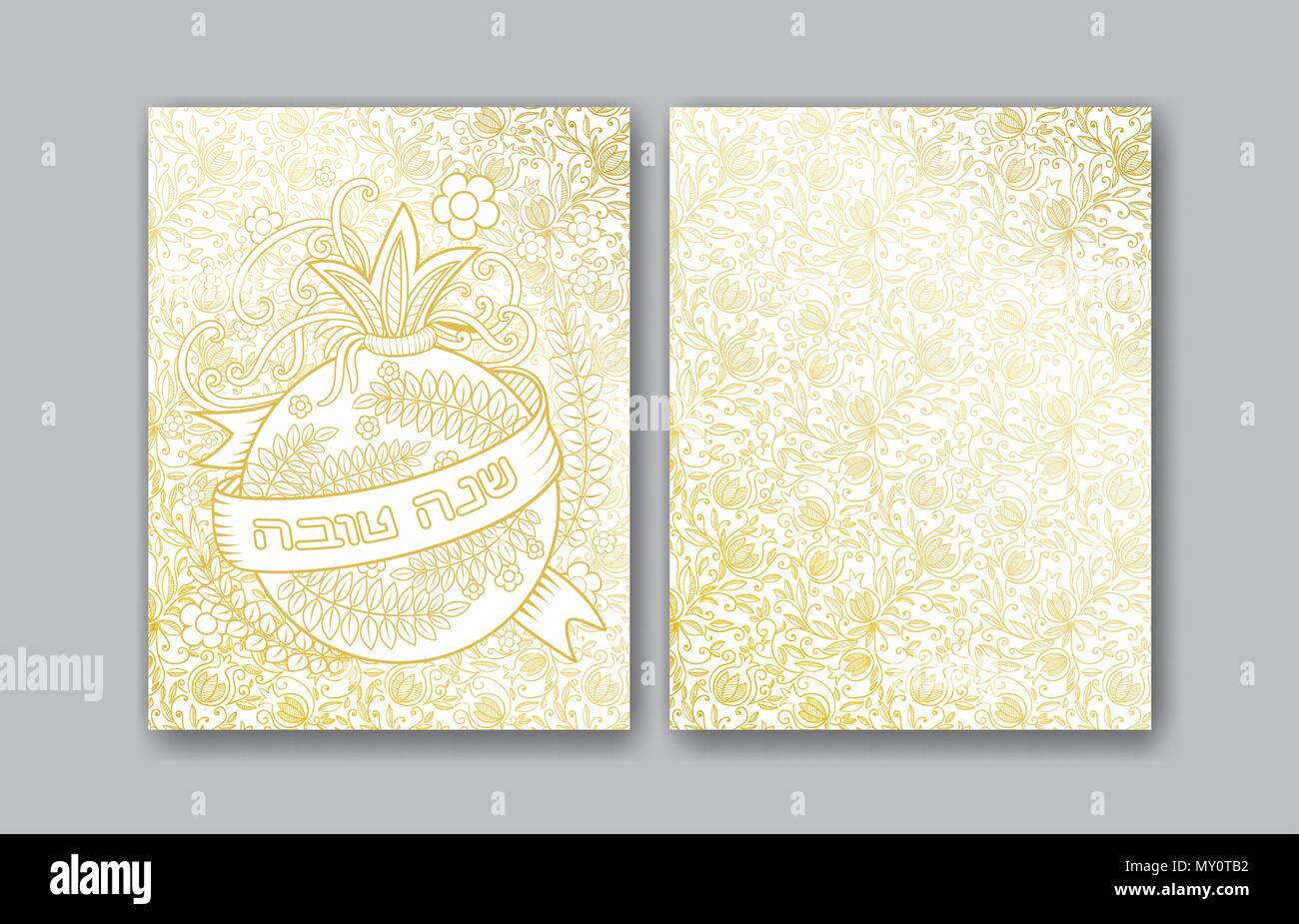 Rosh Hashanah Jewish New Year Greeting Cards Design With Golden