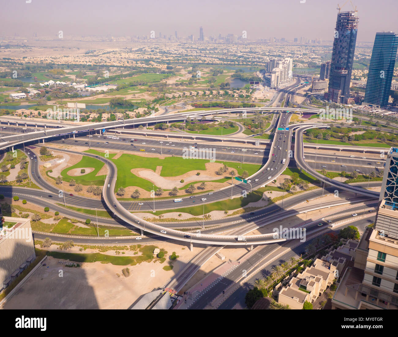 Amazing View Of The Junction Roads From Above In Dubai Traffic On