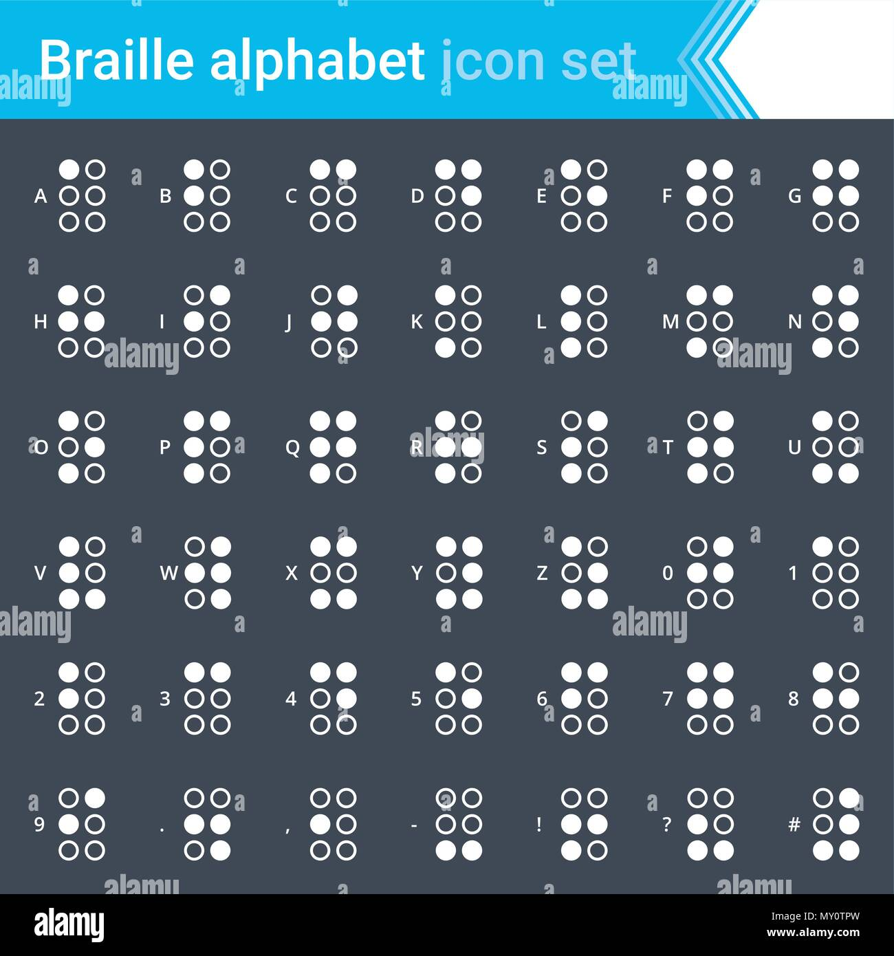 Modern, stroked Braille alphabet icons isolated on dark