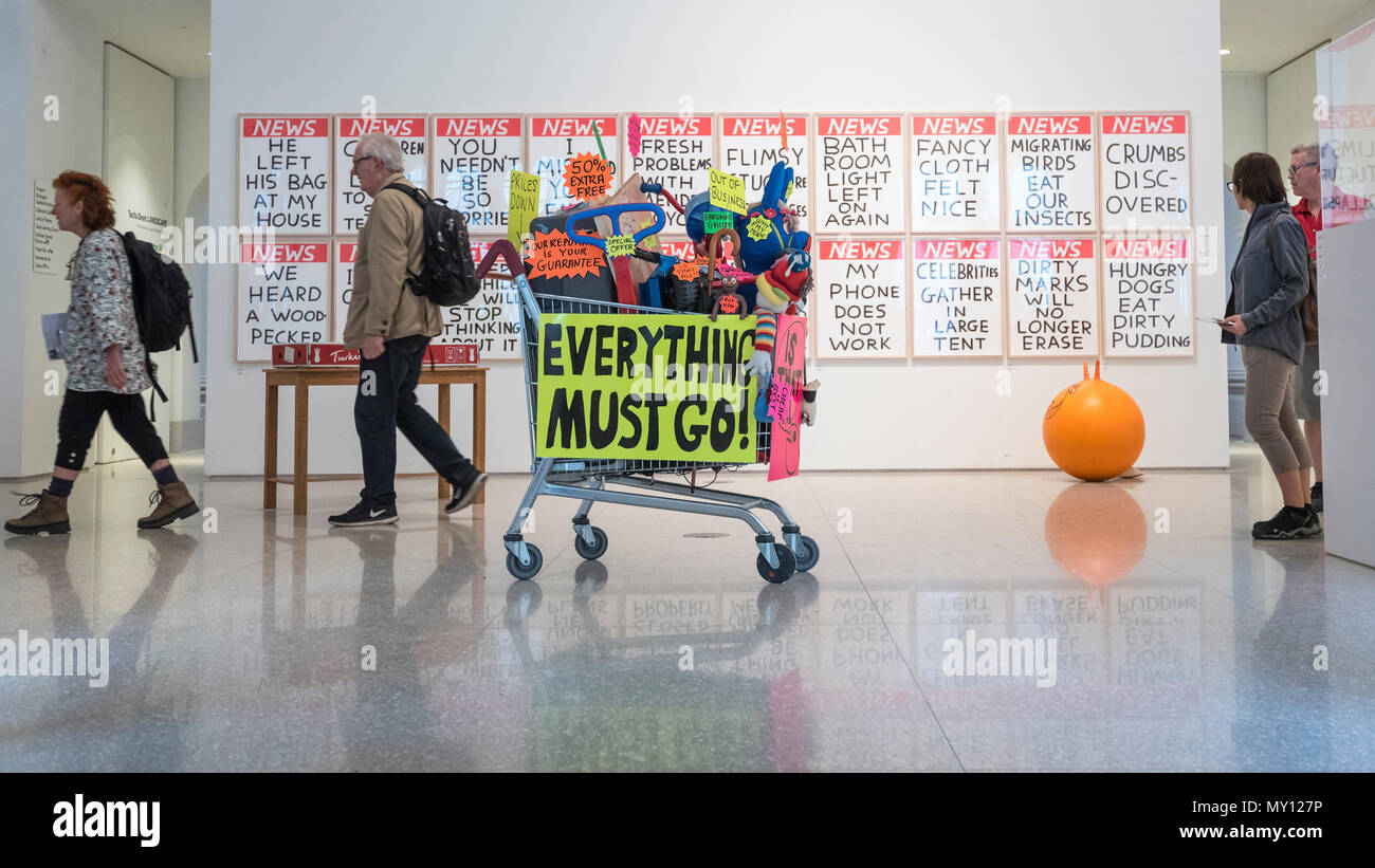 London, UK.  5 June 2018. 'Closing Down Sale' by Michael Landy RA in front of a set of screen prints 'Untitled' by David Shrigley at the preview of the 250th Summer Exhibition at the Royal Academy of Arts in Piccadilly, which has been co-ordinated by Grayson Perry RA this year.  Running concurrently, is The Great Spectacle, featuring highlights from the past 250 years.  Both shows run 12 June to 19 August 2018. Credit: Stephen Chung / Alamy Live News - Stock Image