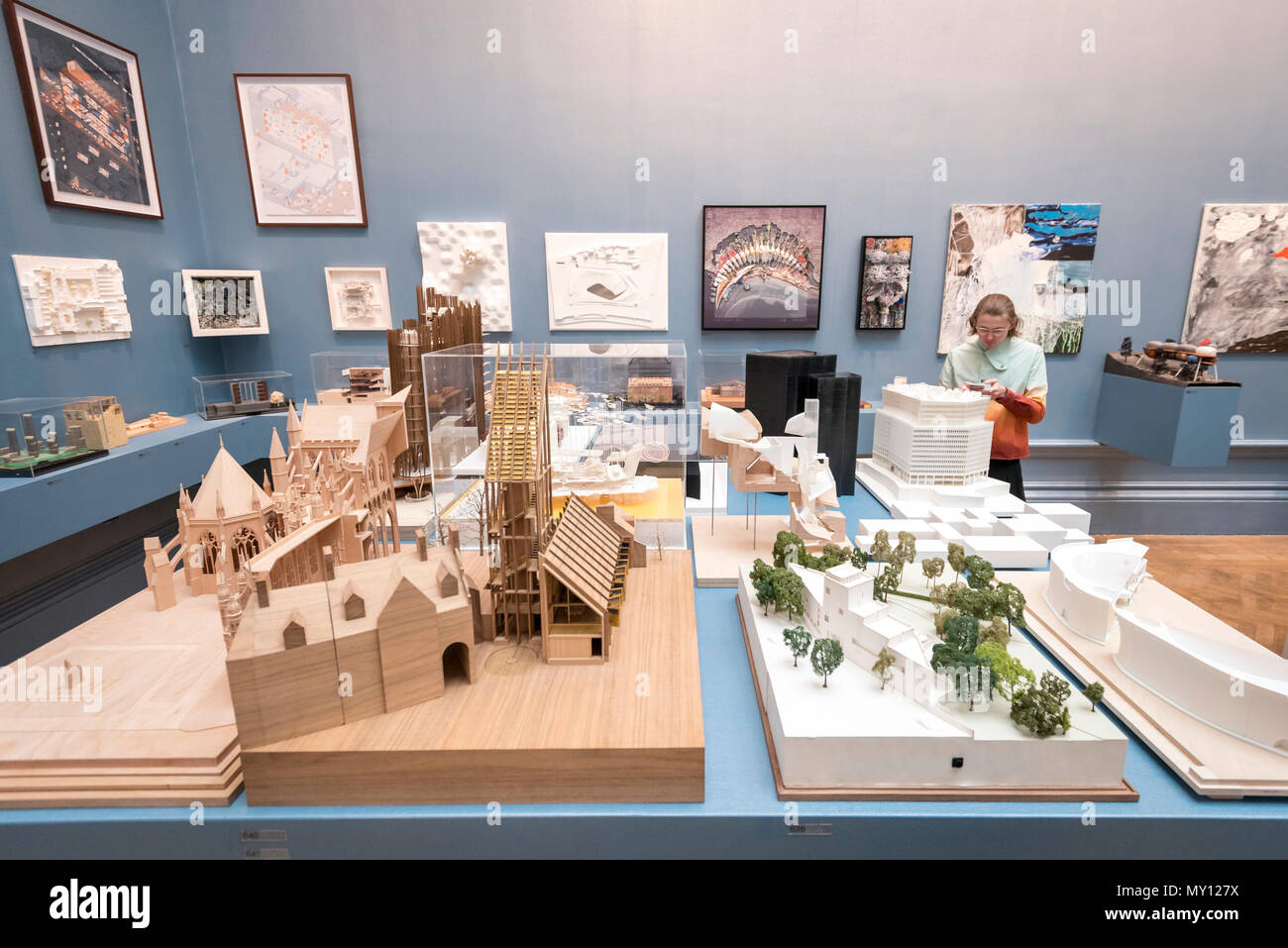 London, UK.  5 June 2018. Architectural models at the preview of the 250th Summer Exhibition at the Royal Academy of Arts in Piccadilly, which has been co-ordinated by Grayson Perry RA this year.  Running concurrently, is The Great Spectacle, featuring highlights from the past 250 years.  Both shows run 12 June to 19 August 2018. Credit: Stephen Chung / Alamy Live News - Stock Image