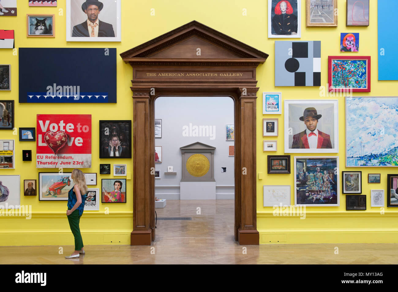 Burlington House, London, UK. 5 June, 2018. The Royal Academy's annual Summer Exhibition celebrates its 250th anniversary. To mark this momentous occasion, the exhibition is co-ordinated by Grayson Perry RA, who, with his committee of fellow artists have handpicked over 1,300 artworks in an array of mediums. There's a monumental sculpture by Anish Kapoor RA in the courtyard, and within the galleries you'll find vast new works by David Hockney RA and Joana Vasconcelos. Credit: Malcolm Park editorial/Alamy Live News - Stock Image