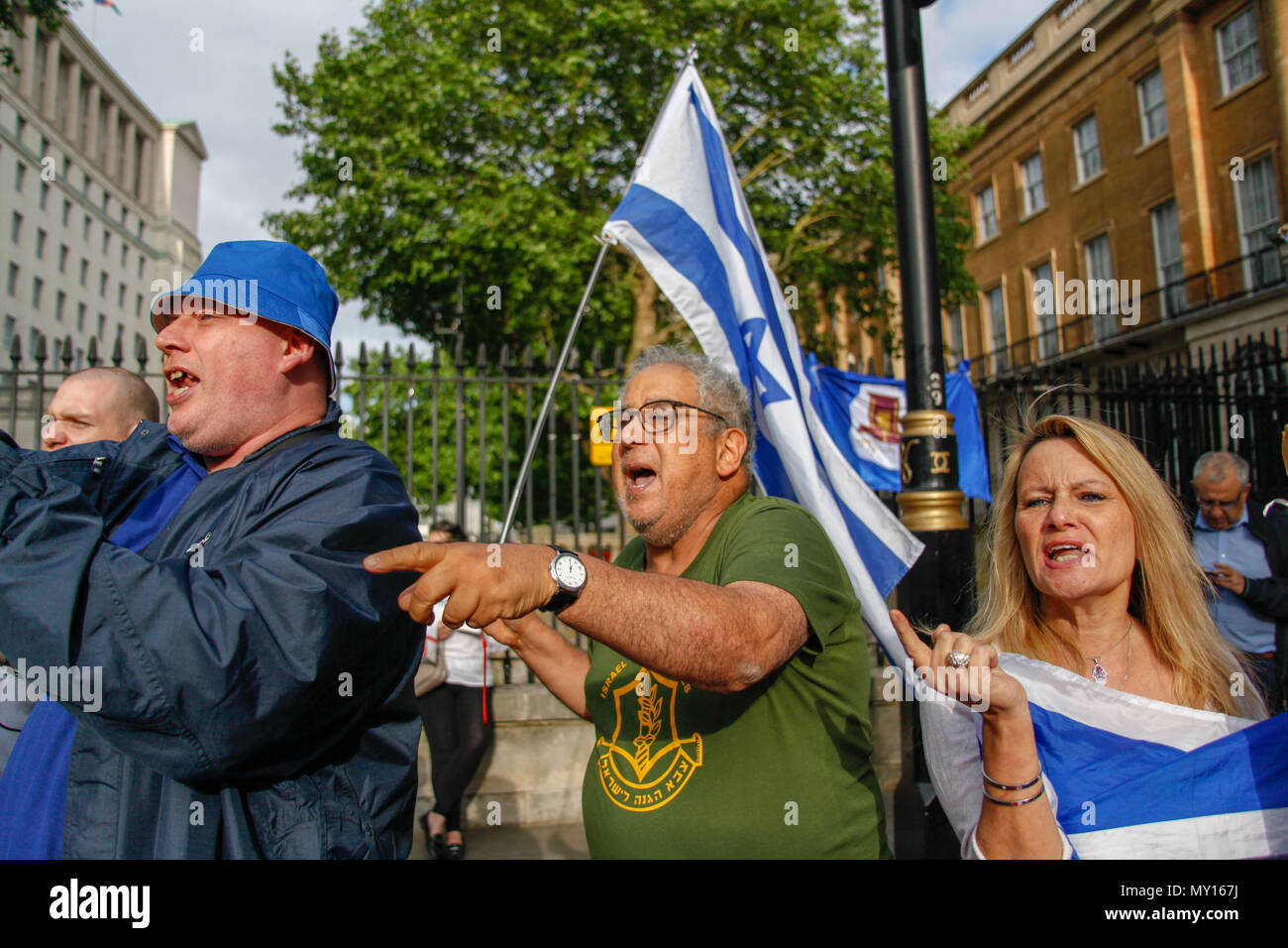 London, UK. 5th June, 2018. Israeli counter-demo at the Protest to Free Palestine Credit: Alex Cavendish/Alamy Live News - Stock Image