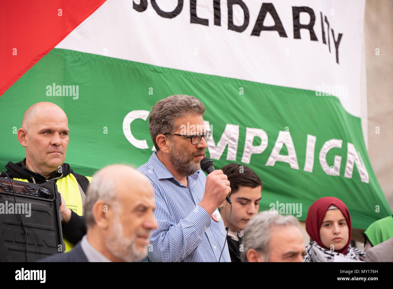 London, UK.  5 June, 2018  Demonstration outside Downing Street organised by Friends of Al Aqsa.  Demonstration organised to protest against the killing and injustice in Gaza and to stand in solidarity with the Great Return March. - Stock Image