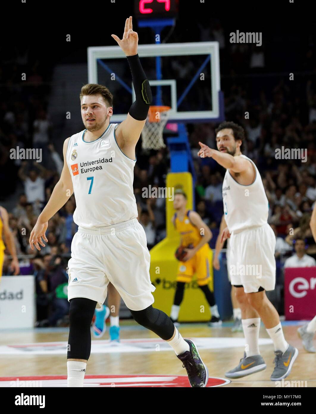 edc2743b9 Real Madrid s Luka Doncic during the second ACB League playoff semifinal match  between Real Madrid and Herbalife Gran Canaria at the Wizink Center in  Madrid ...