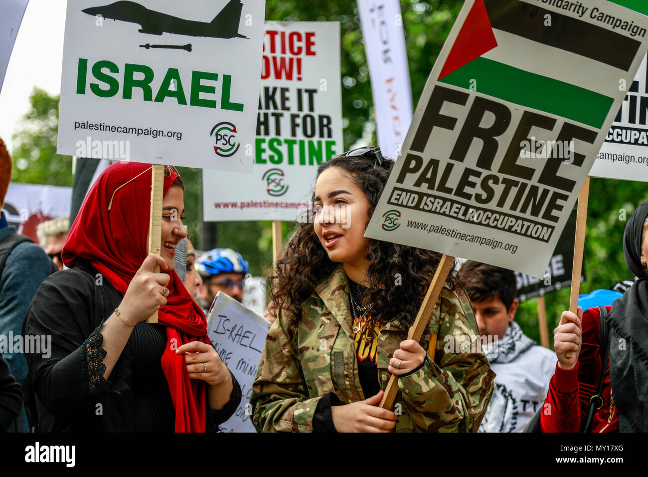 London, England. 5th June, 2018. Palestinian Solidarity Campaign Protest, London Protest: Free Palestine – Stop the Killing – Stop Arming Israel. Credit: Brian Duffy/Alamy Live News - Stock Image