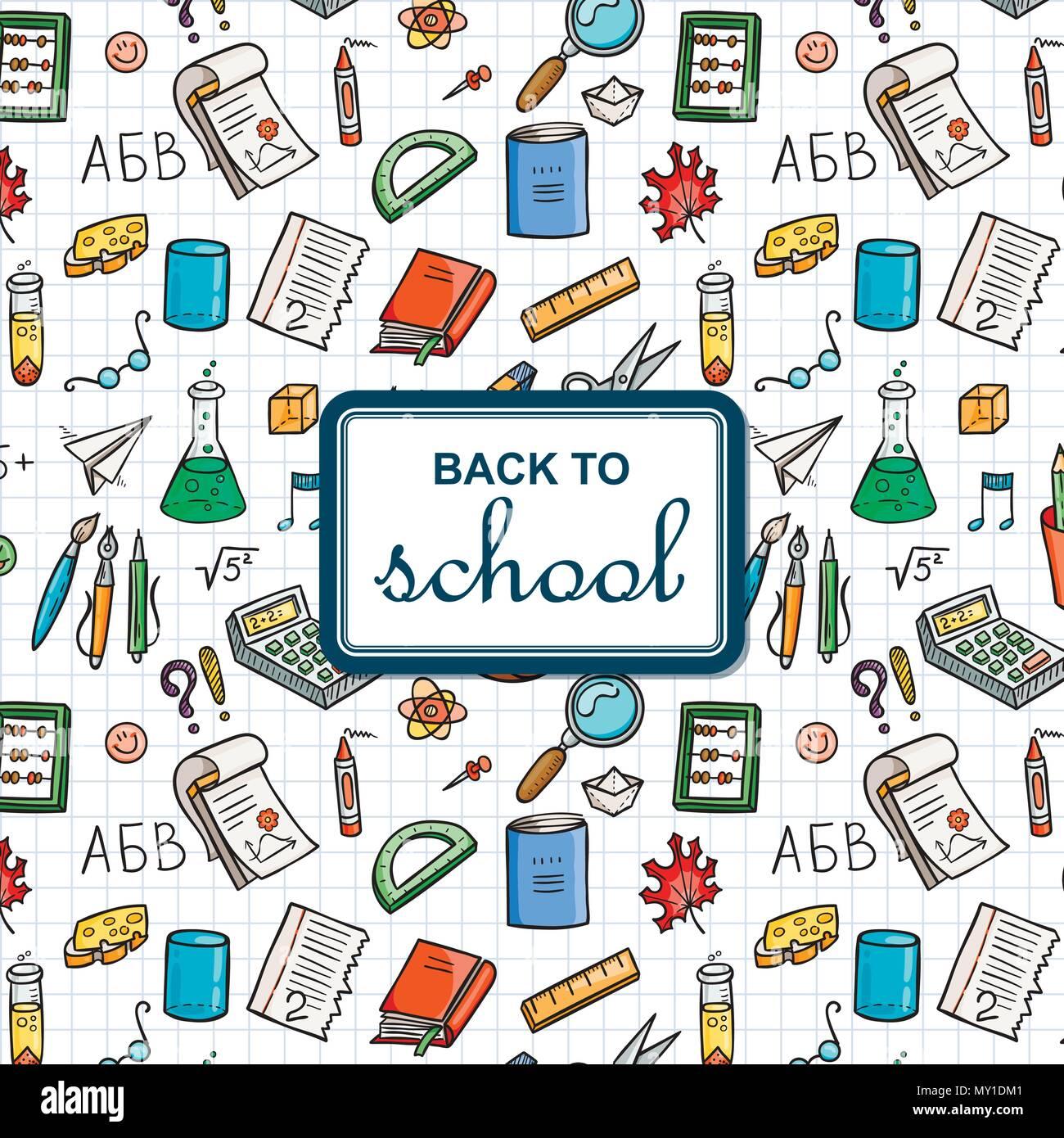 Illustration School Supplies Doodles Stock Photos