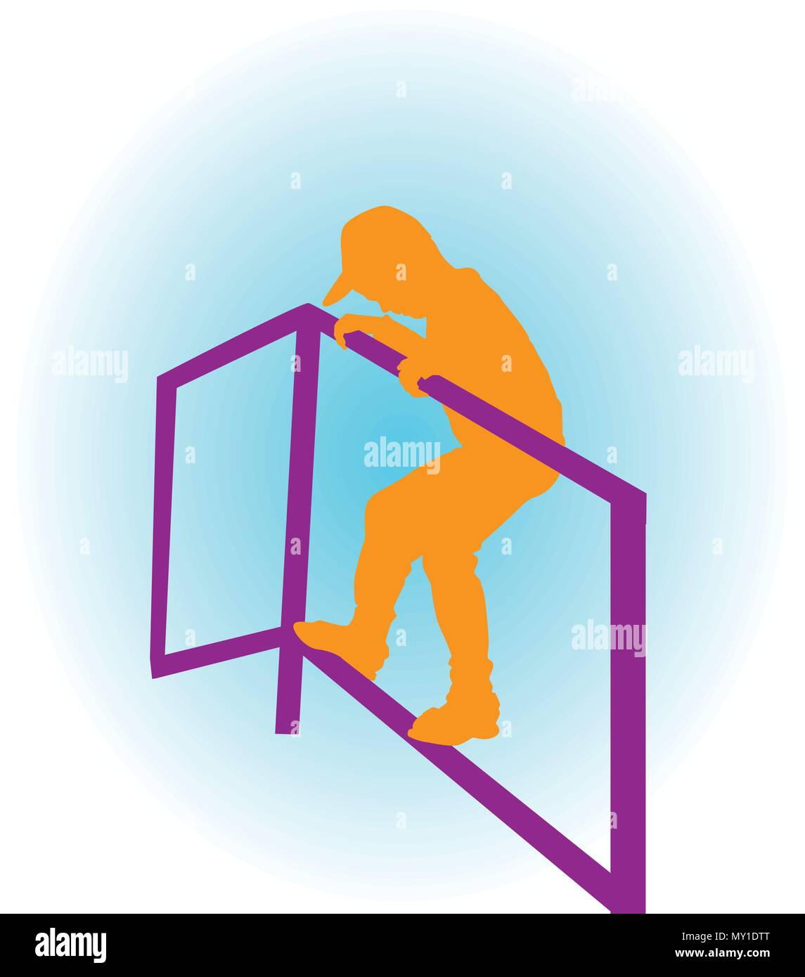 a boy climbing on the bar in the park silhouette vector - Stock Vector