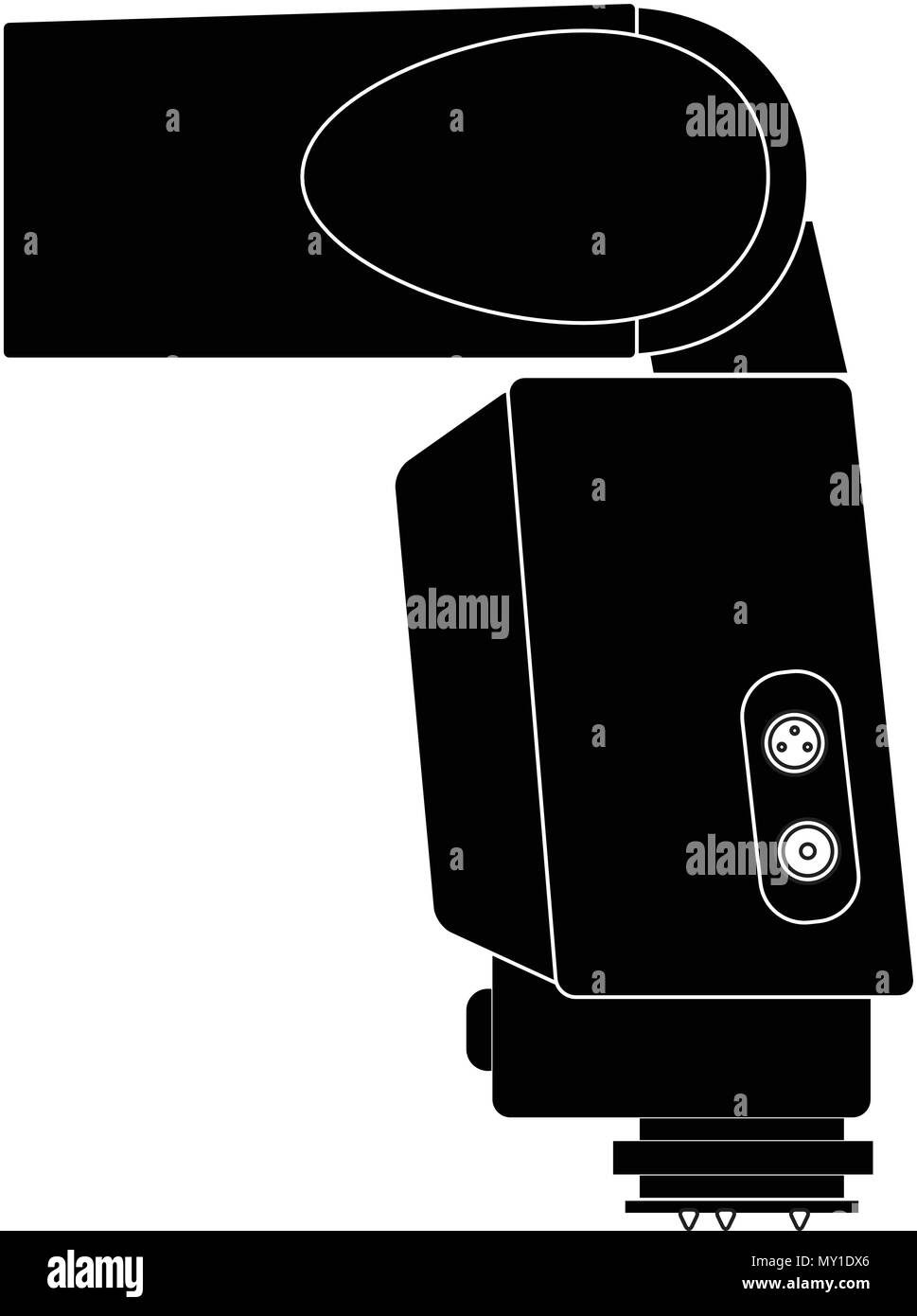 slr, dslr flash vector illustration silhouette Stock Vector
