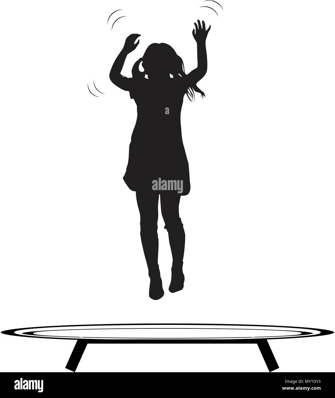 girl jumping trampoline vector silhouette - Stock Vector