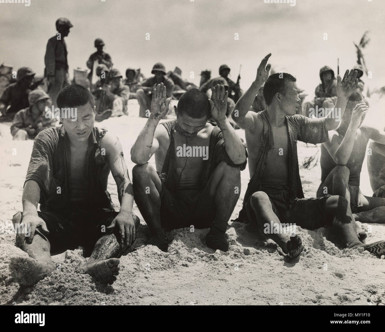 Japanese prisioners from Battle of Tarawa - Stock Image