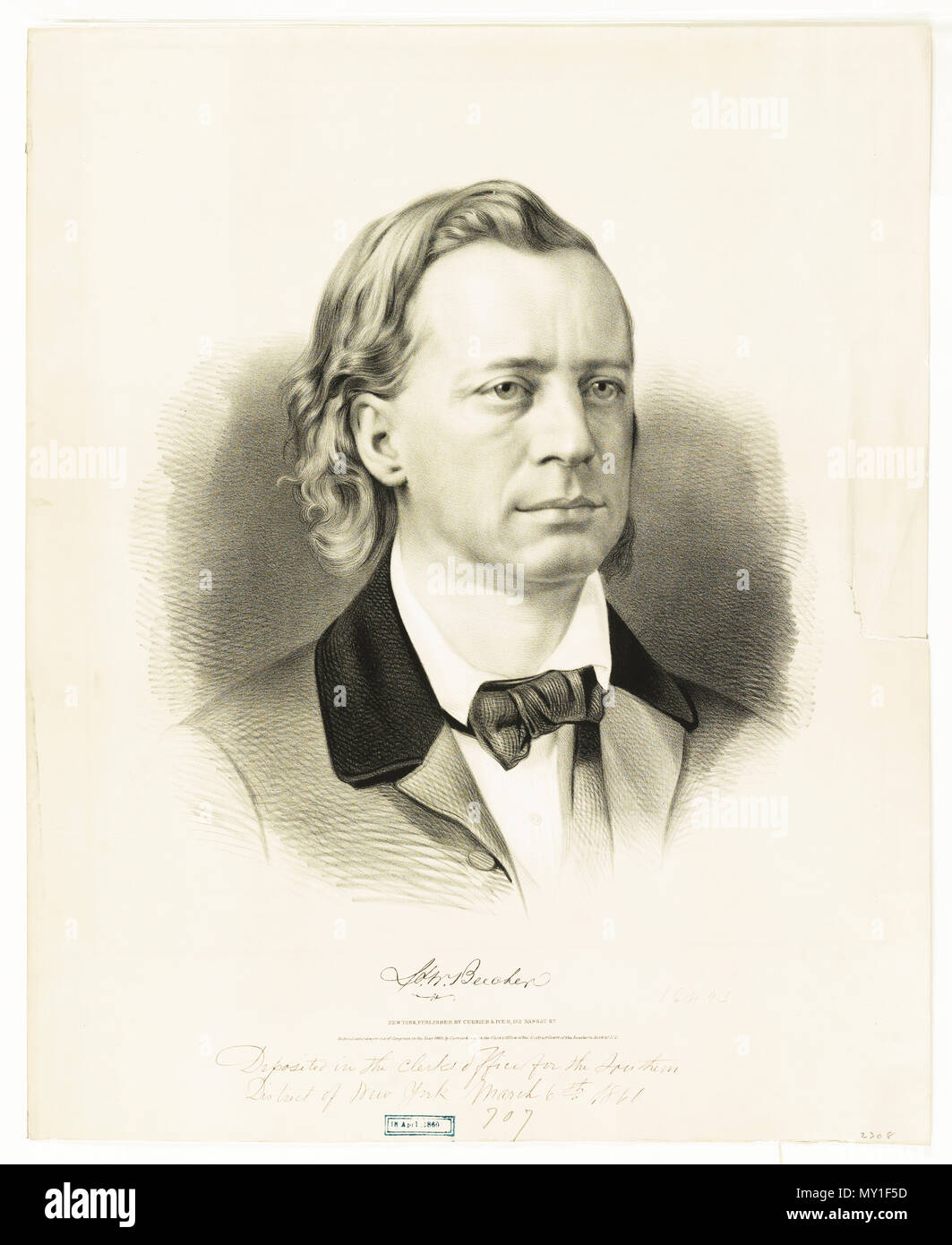 H.W. Beecher Herny Ward Beecher c 1860 - Stock Image