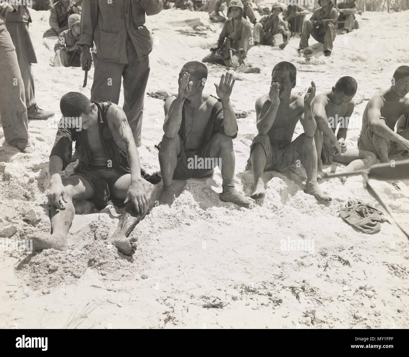 Japanese Prisoners battle of Tarawa - Stock Image