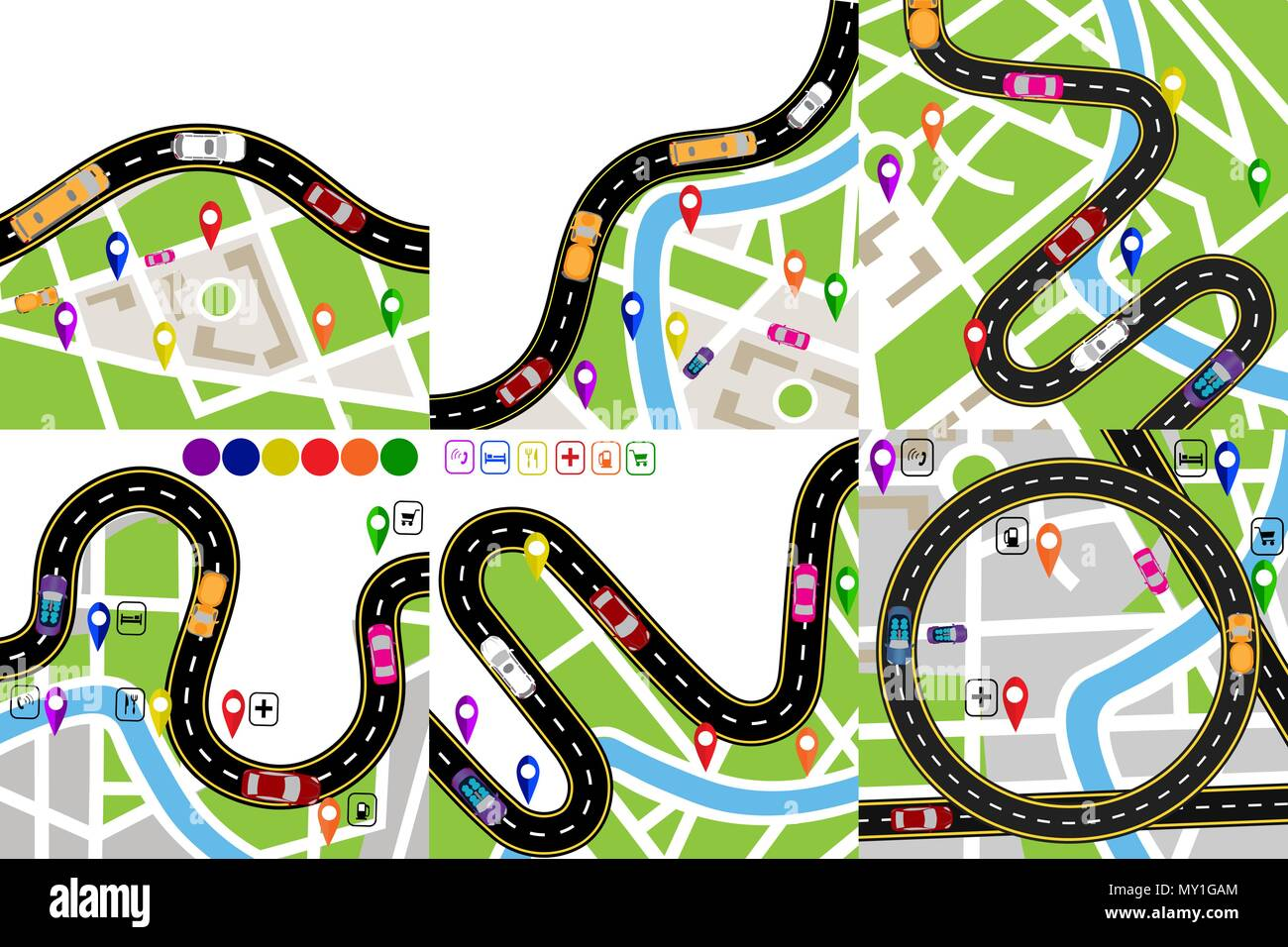 Road Infographic Set A Winding Road With Markers On The Maps Of The