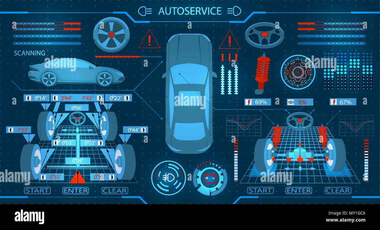 Car service. Scanning. Diagnostic alignment of the wheels. Check of shock-absorbers and the steering mechanism. Graphic display. illustration - Stock Image