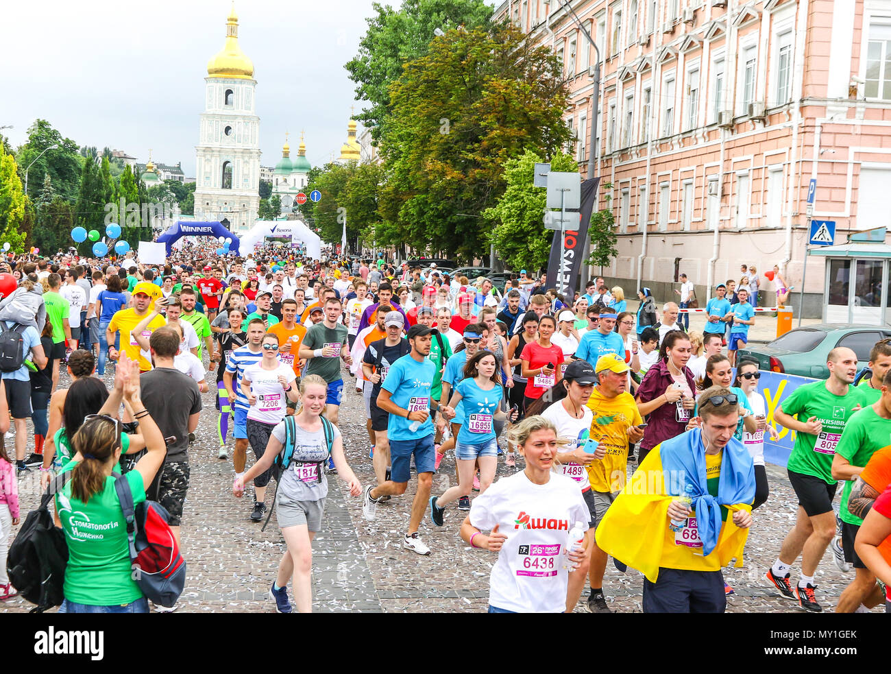 Kyiv Ukraine June 3 2018 Athletes And Amateurs Run On The Streets During The 26th Kyiv Chestnut Charity Run 2018