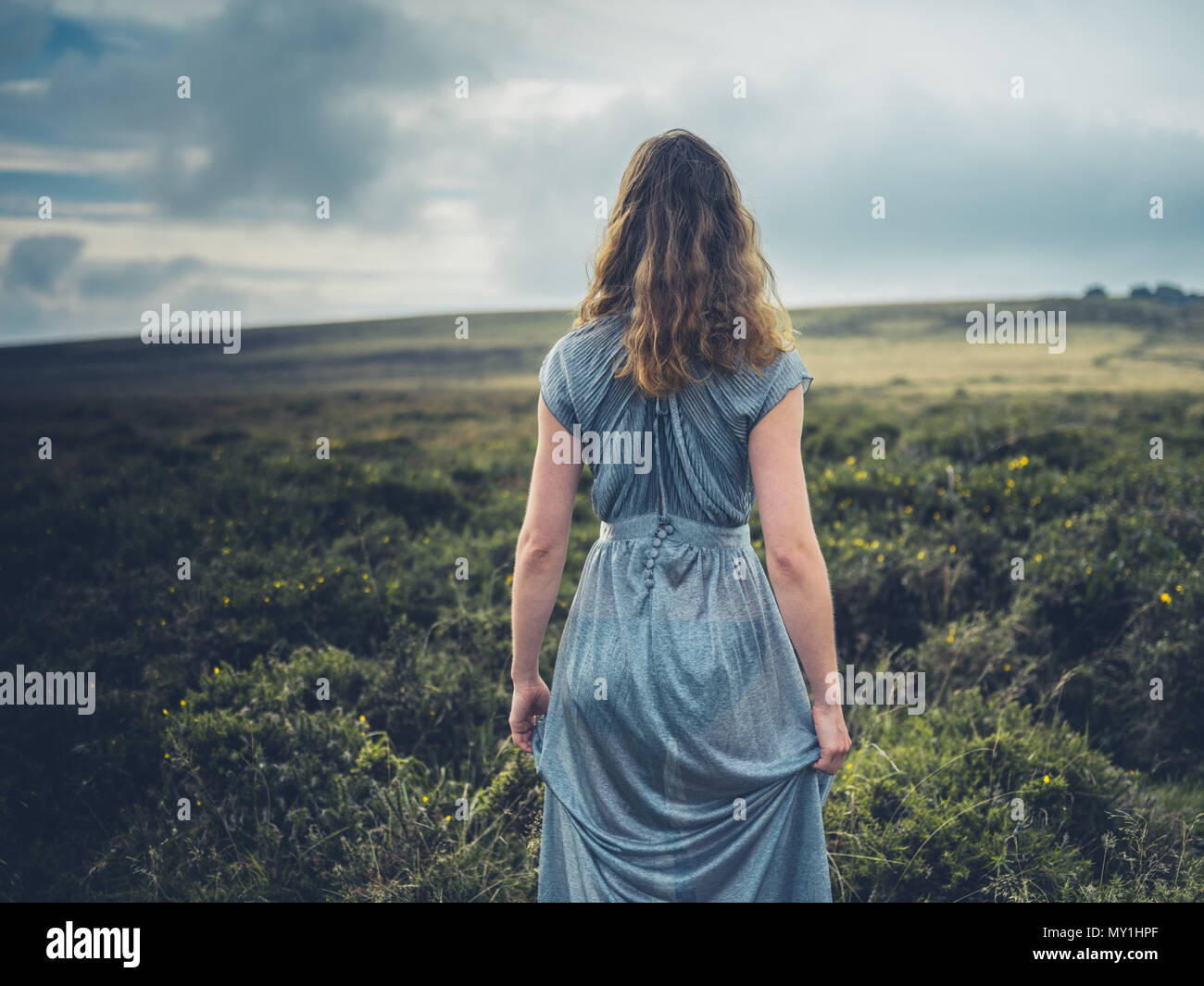 A beautiful young woman is wearing an elegant dress and is walking on the moor in the autumn - Stock Image