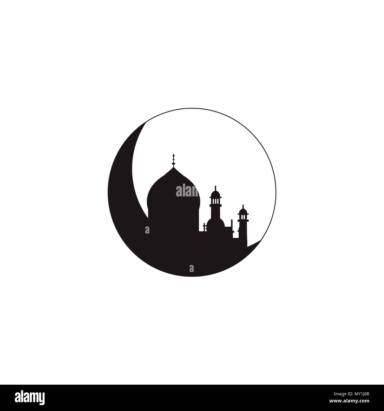 Silhouette of mosque with minarets on moon Crescent. Concept for Islamic Muslim holiday for celebration Mawlid birthday of prophet Muhammad, holy month of Ramadan Kareem, Eid Mubarak - Stock Image