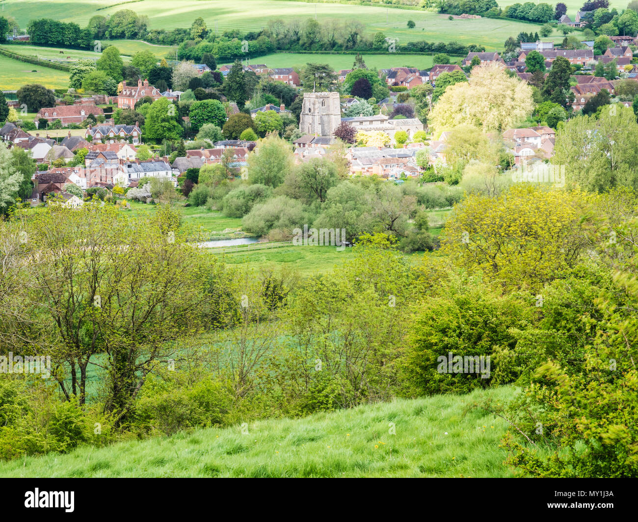 View over the Wiltshire village of Ramsbury. - Stock Image