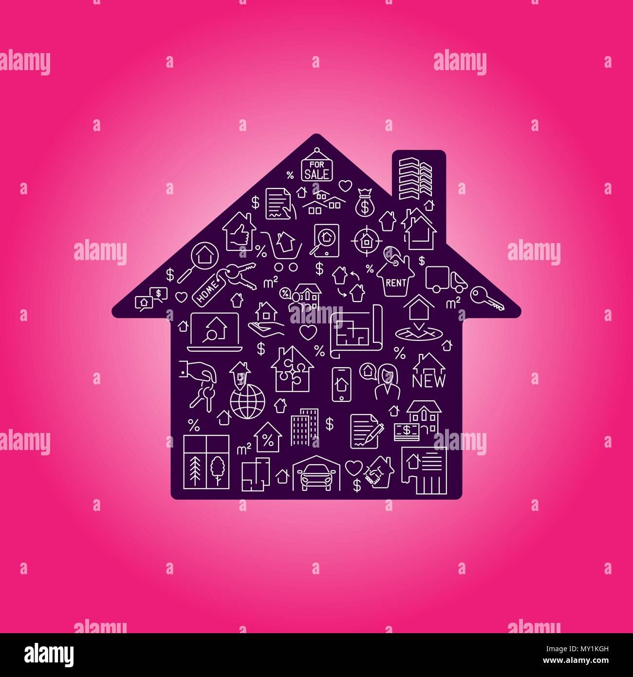 Real estate icon set in house silhouette background illustration ...