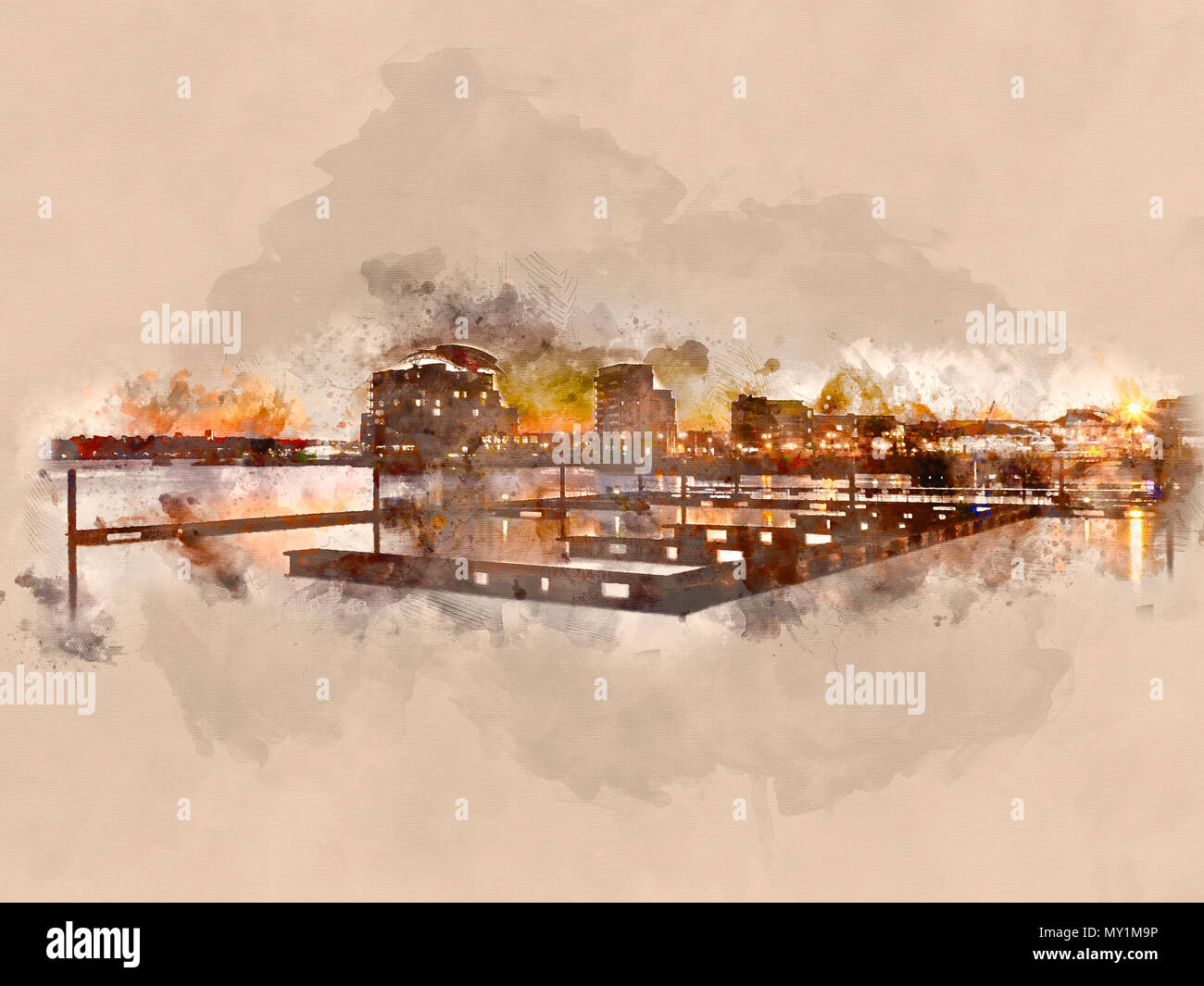 Watercolour painting of Cardiff Bay sunset, South Wales UK with a clear sky on a cold winter evening. - Stock Image